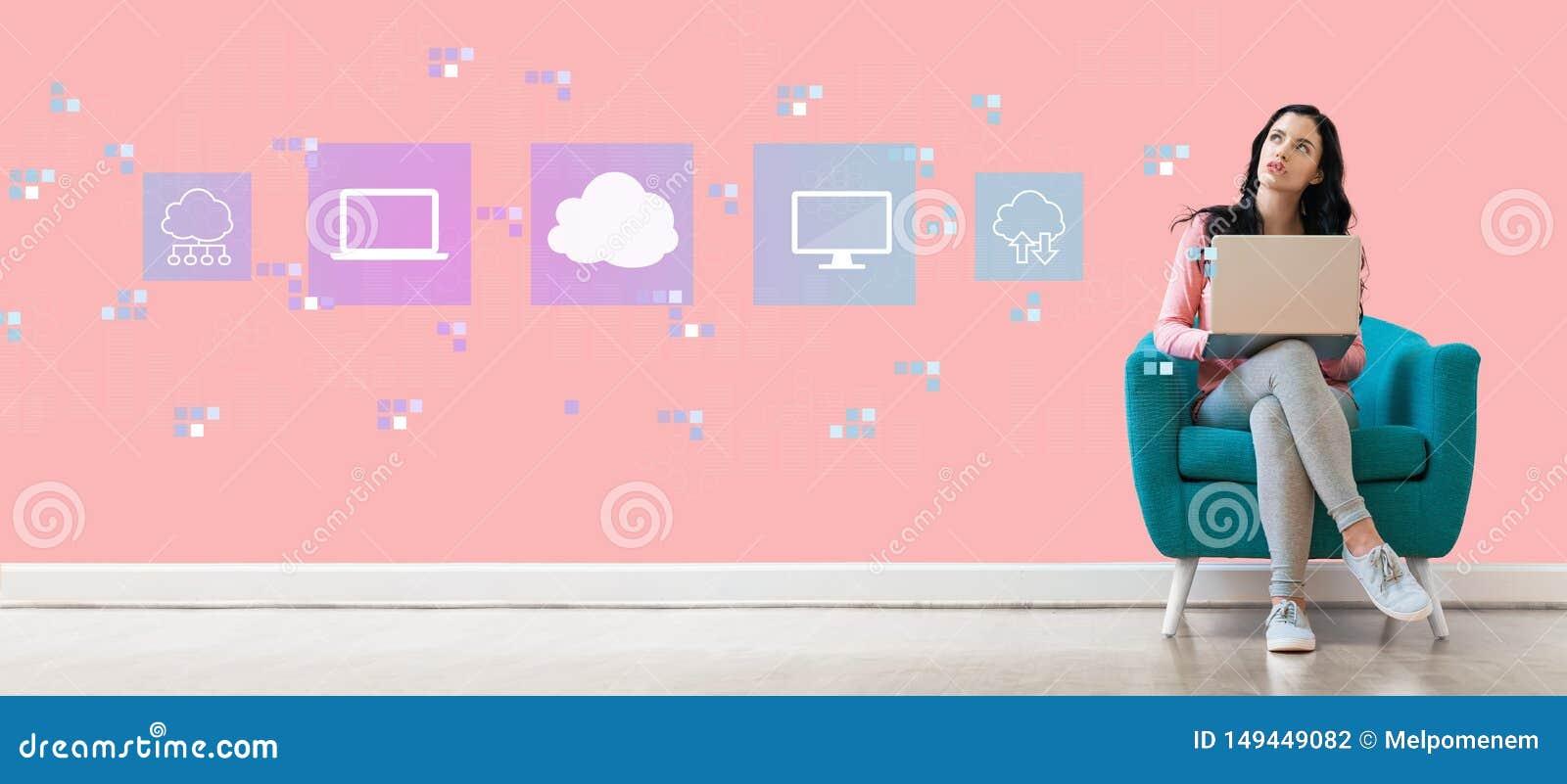 计算与妇女的云彩使用膝上型计算机