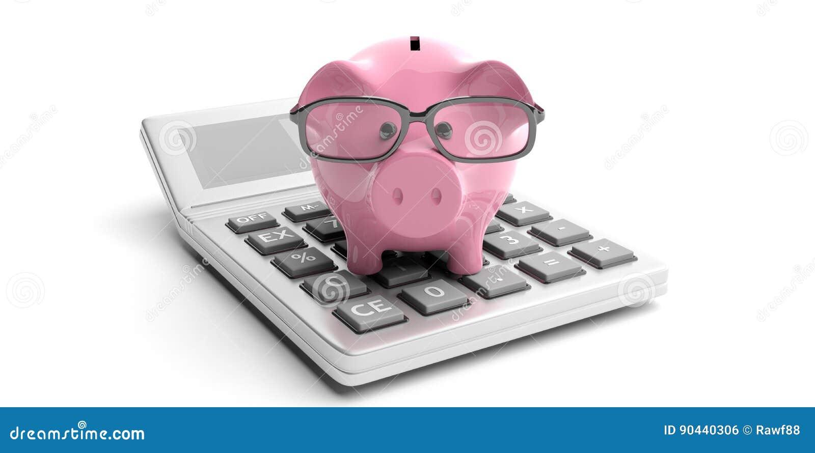 计算器和存钱罐白色背景的 3d例证