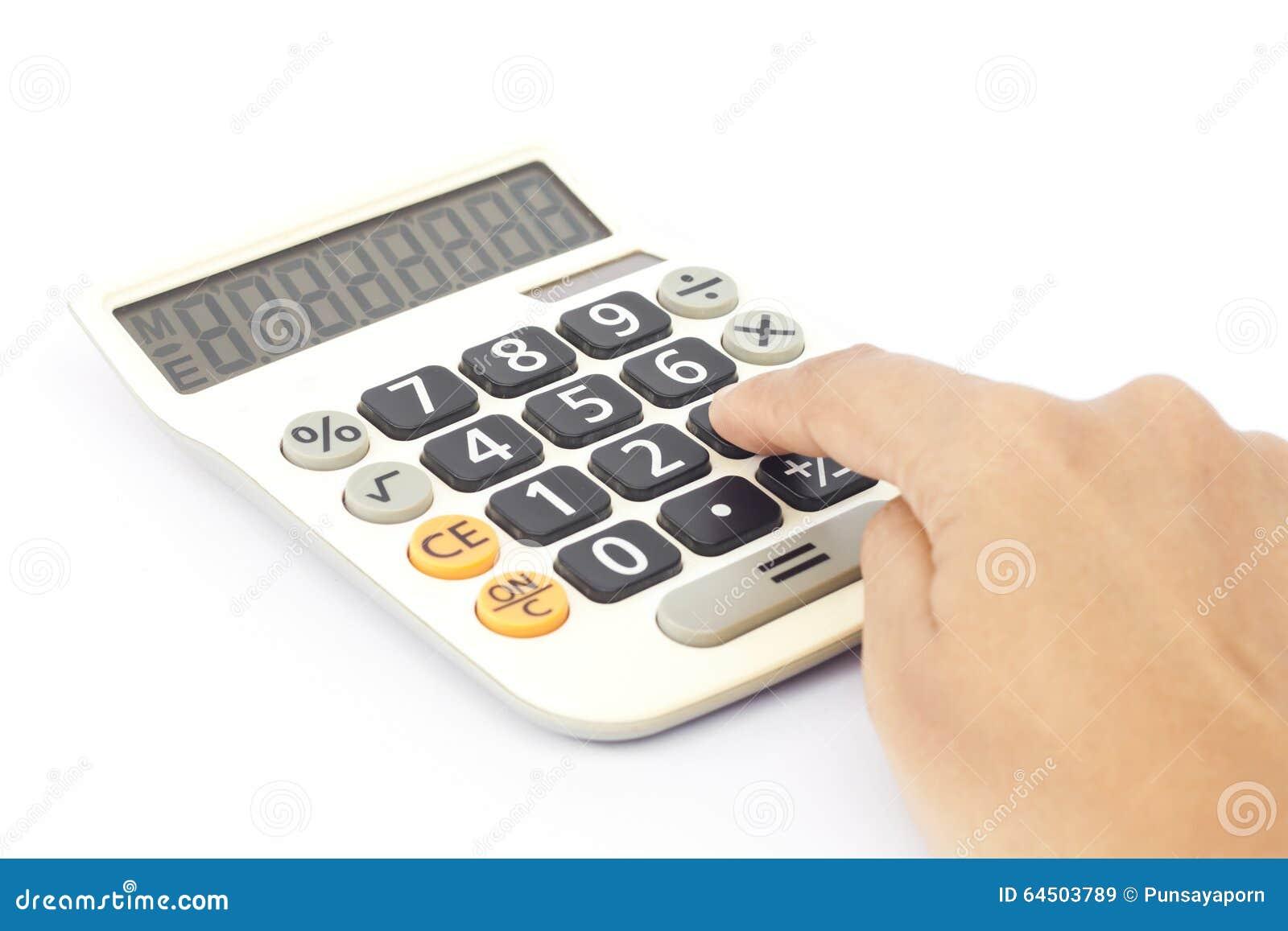 计算器用在白色背景,储蓄照片的手.