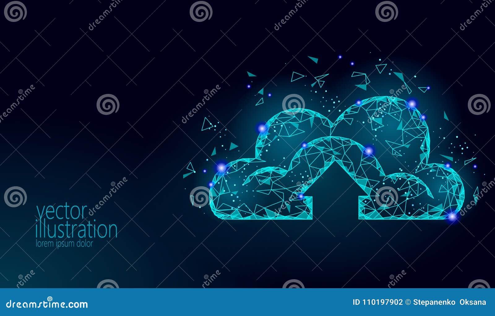 计算在线式存储的云彩低多 多角形未来现代互联网企业技术 蓝色发光的全球性数据