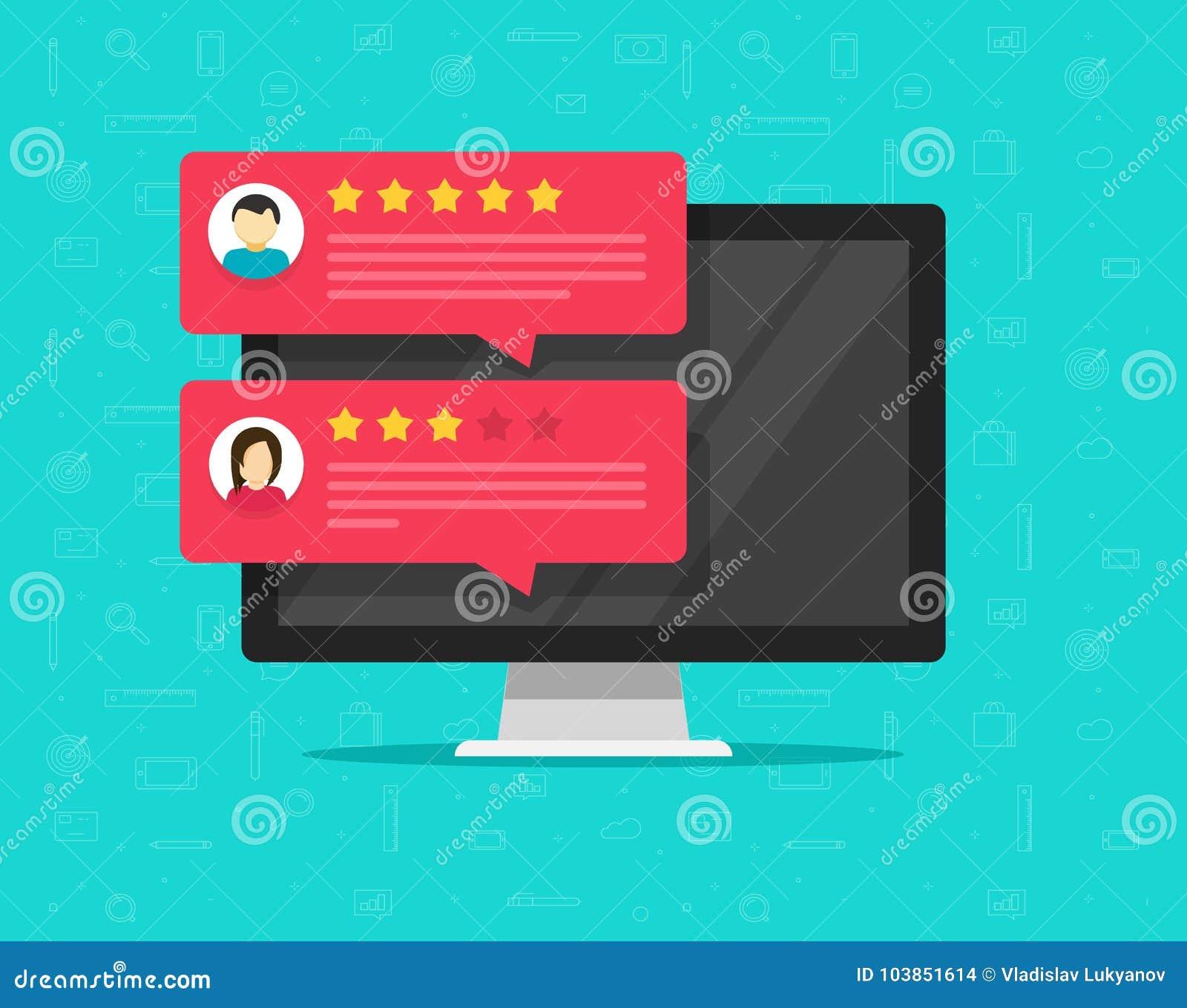 计算机和顾客回顾规定值消息传染媒介例证、平的台式计算机显示与网上回顾或客户