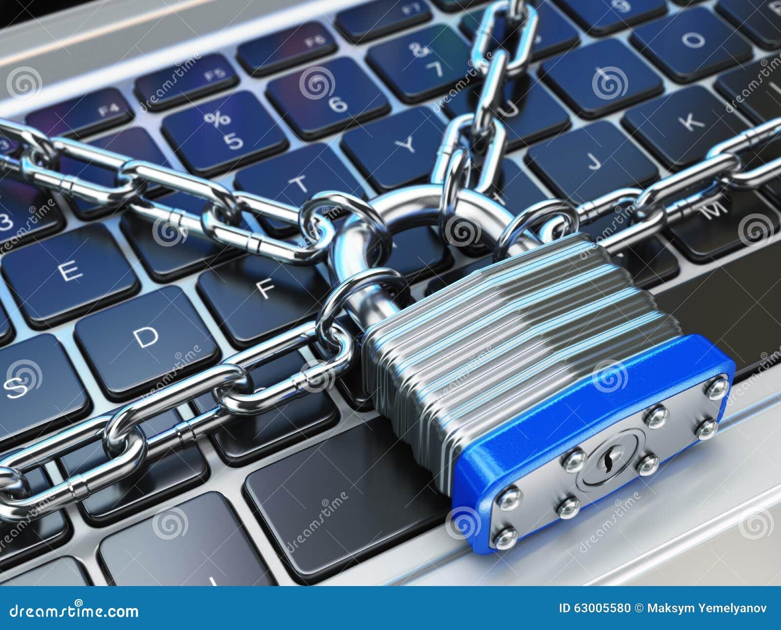 计算机安全或安全概念 关键董事会膝上型计算机