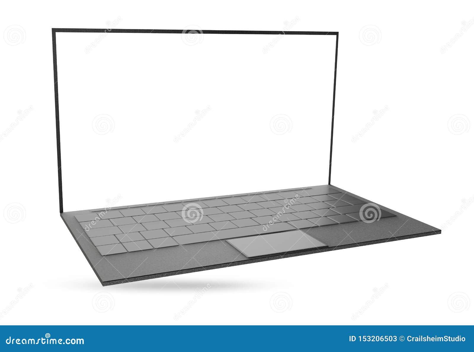 计算机笔记本在白色隔绝的膝上型计算机3d例证