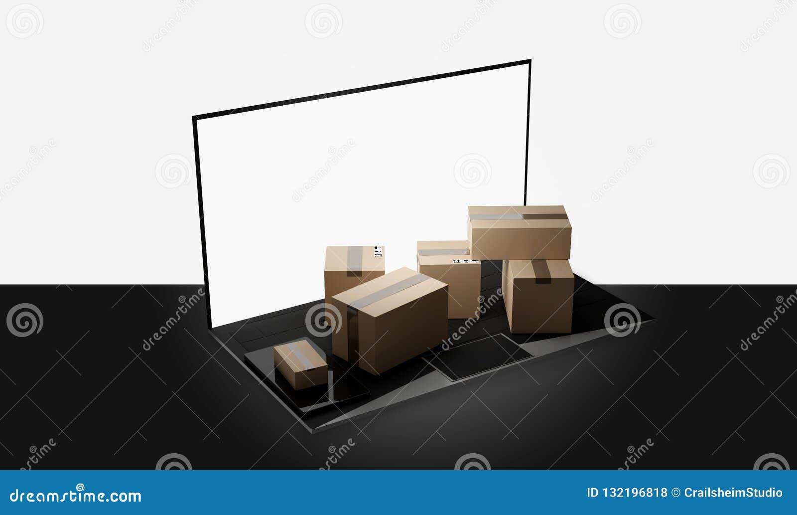 计算机笔记本膝上型计算机包裹交付3d例证
