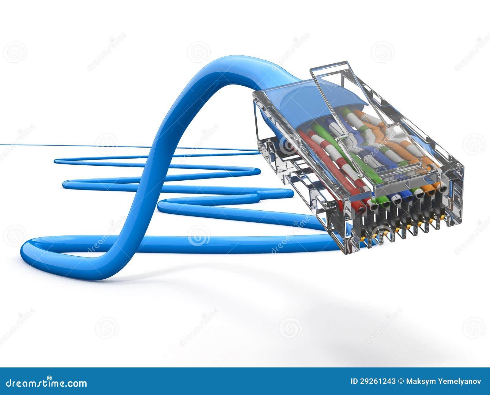 计算机网络电缆rj45。 3d