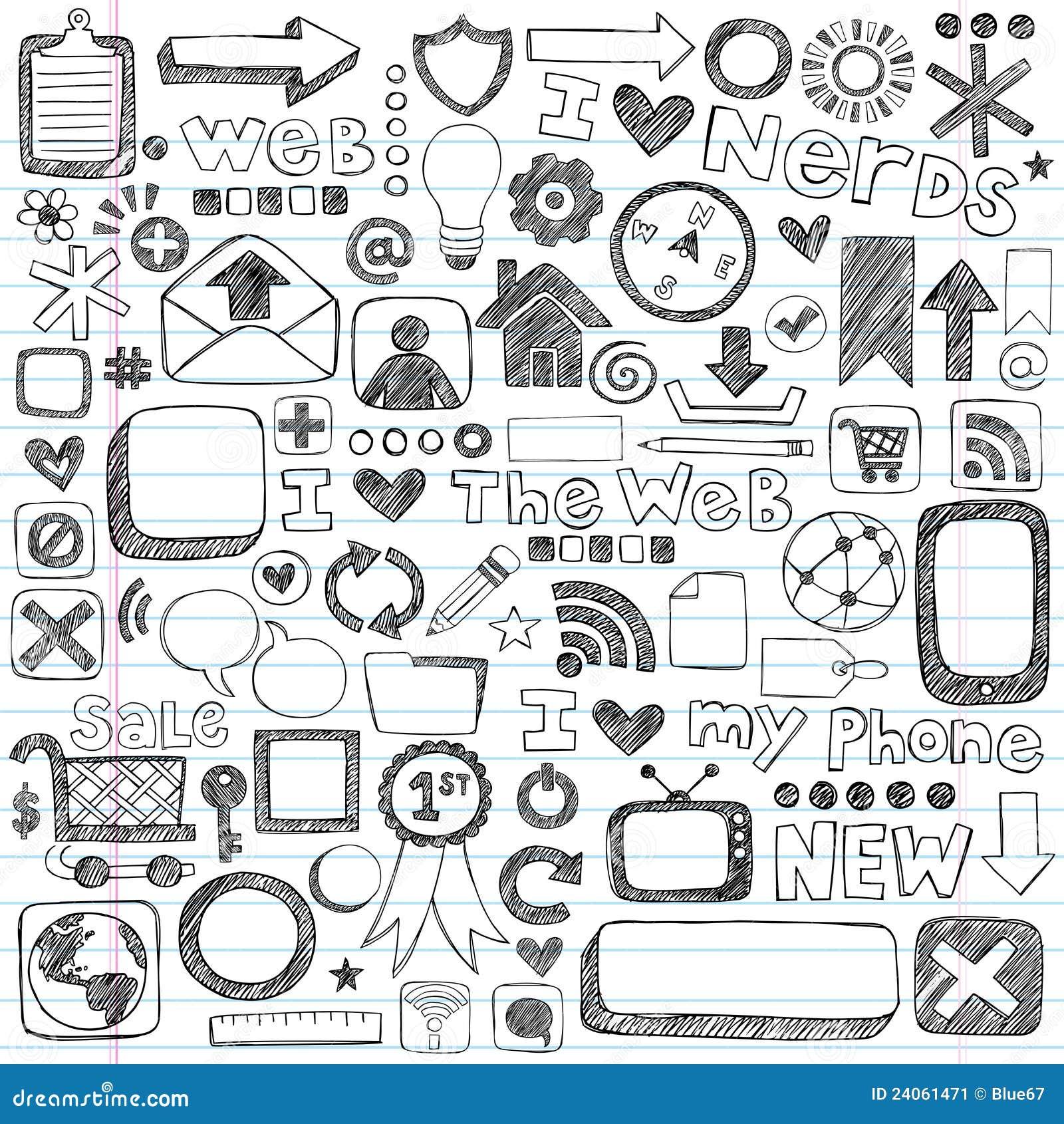 计算机设计乱画要素图标概略万维网