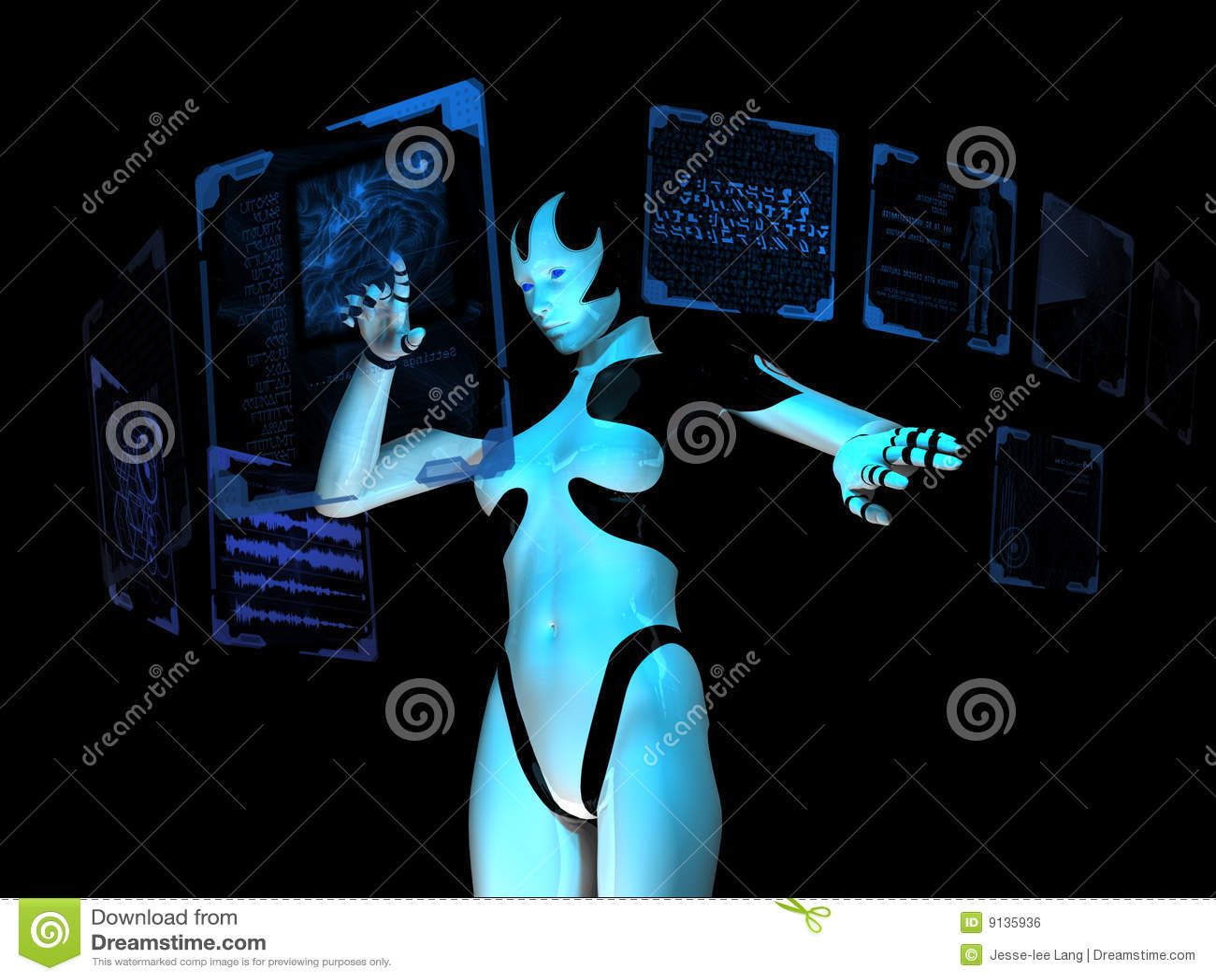 计算机靠机械装置维持生命的人全息&#