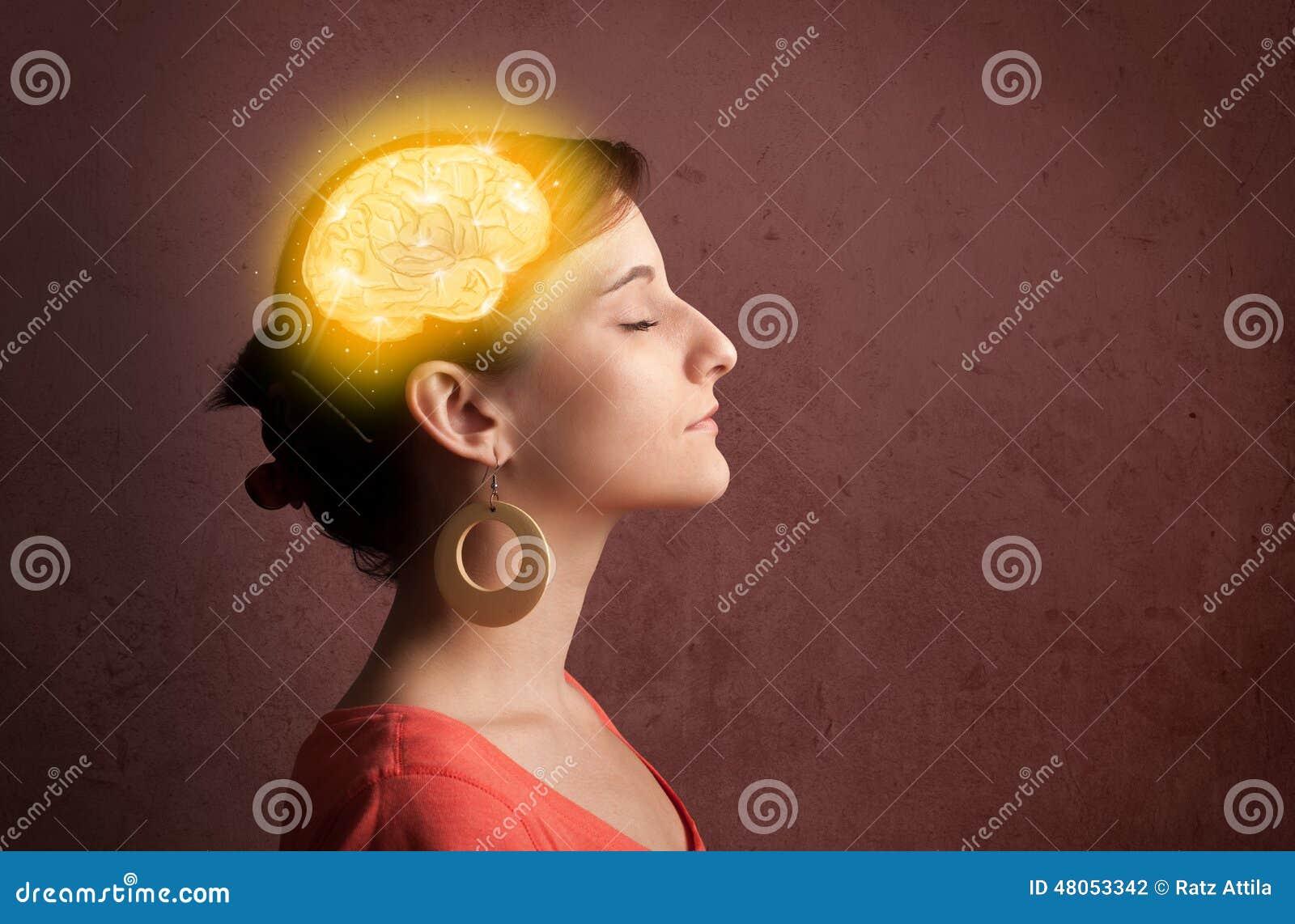 认为与发光的脑子例证的女孩