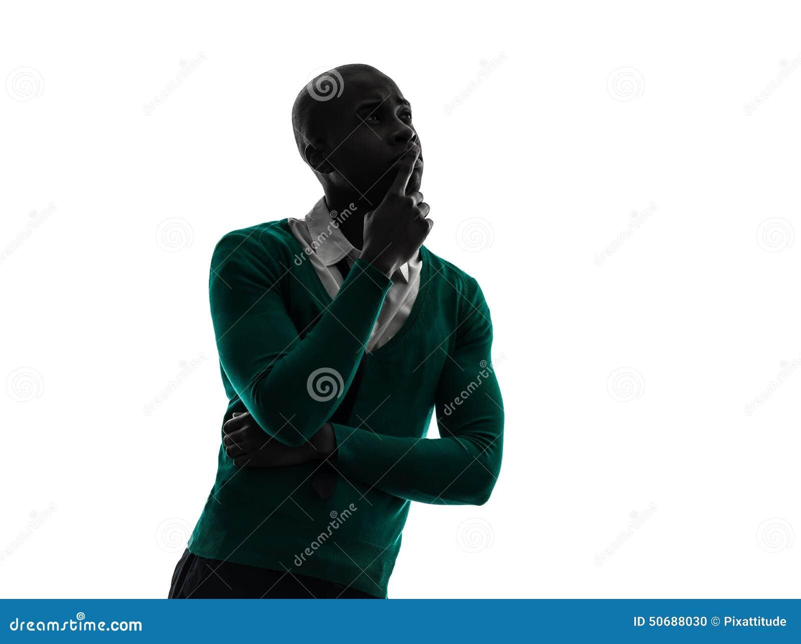 Download 认为沉思剪影的非洲黑人 库存照片. 图片 包括有 背包, 沉思, 工作室, 影子, 破擦声, 查出, 纵向 - 50688030