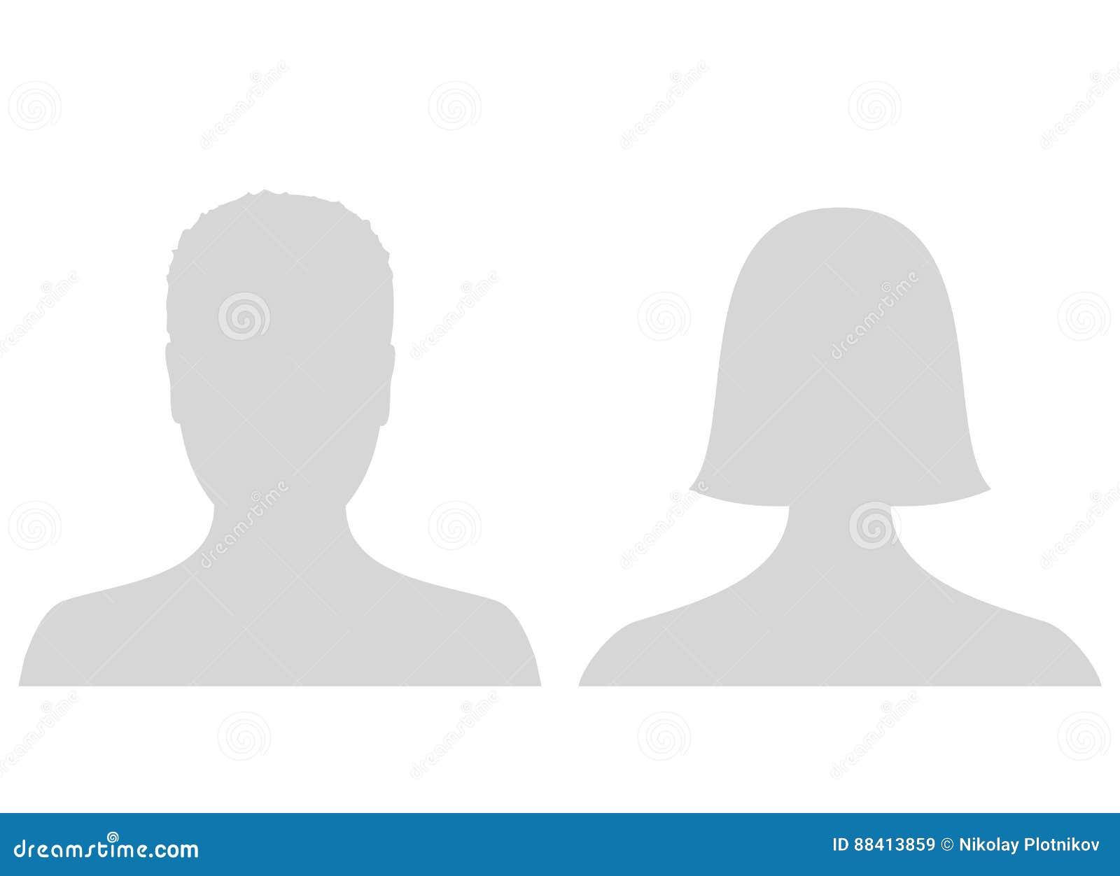 默认男性和女性具体化外形图片象 灰色男人和妇女照片占位符