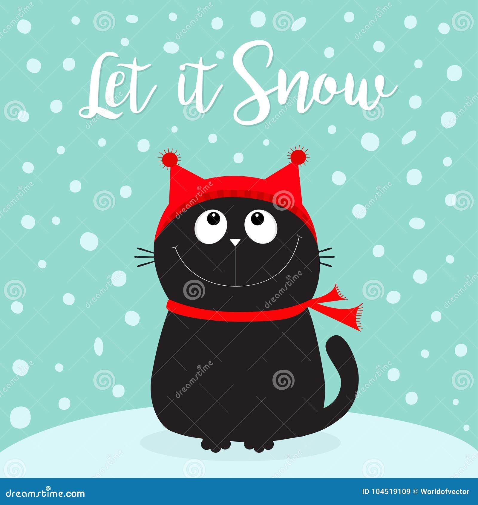 让雪 恶意嘘声小猫查寻头的面孔 全部赌注坐随风飘飞的雪 红色帽子,围巾 逗人喜爱的滑稽的漫画人物 Merr