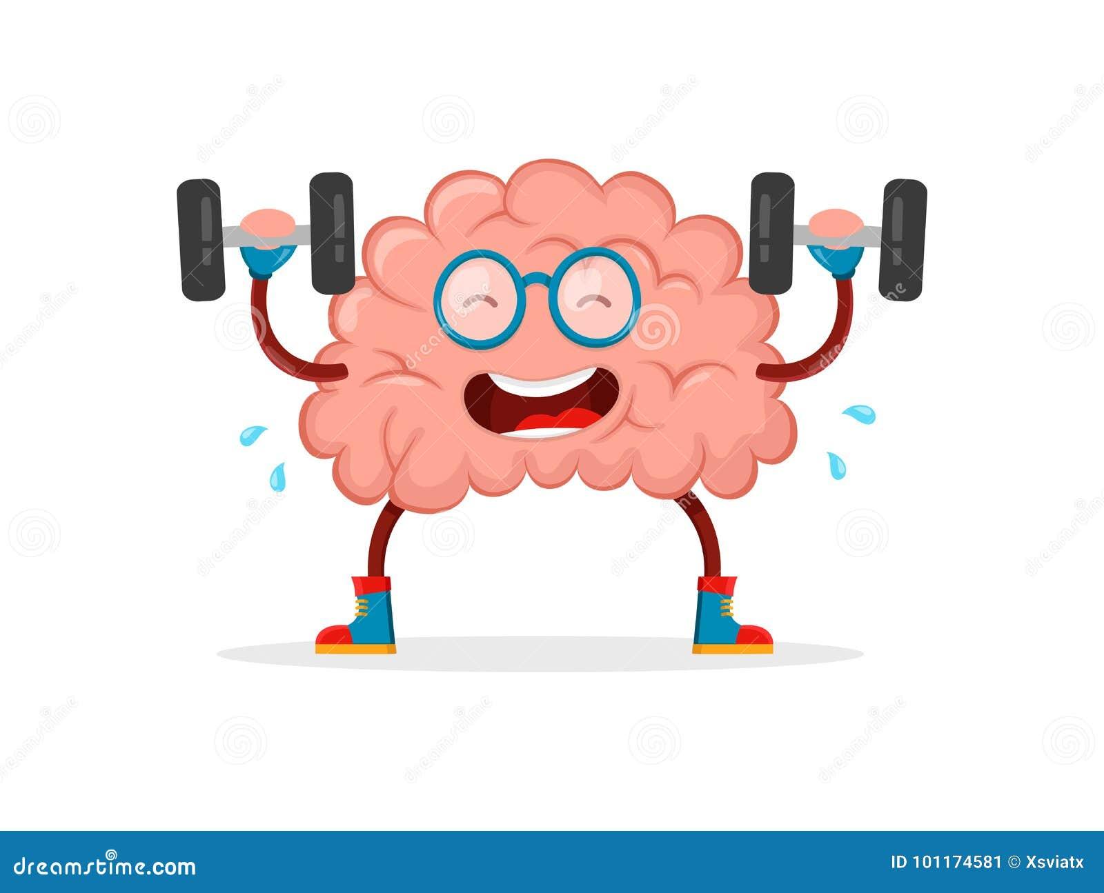 训练您的脑子 脑子平传染媒介的动画片