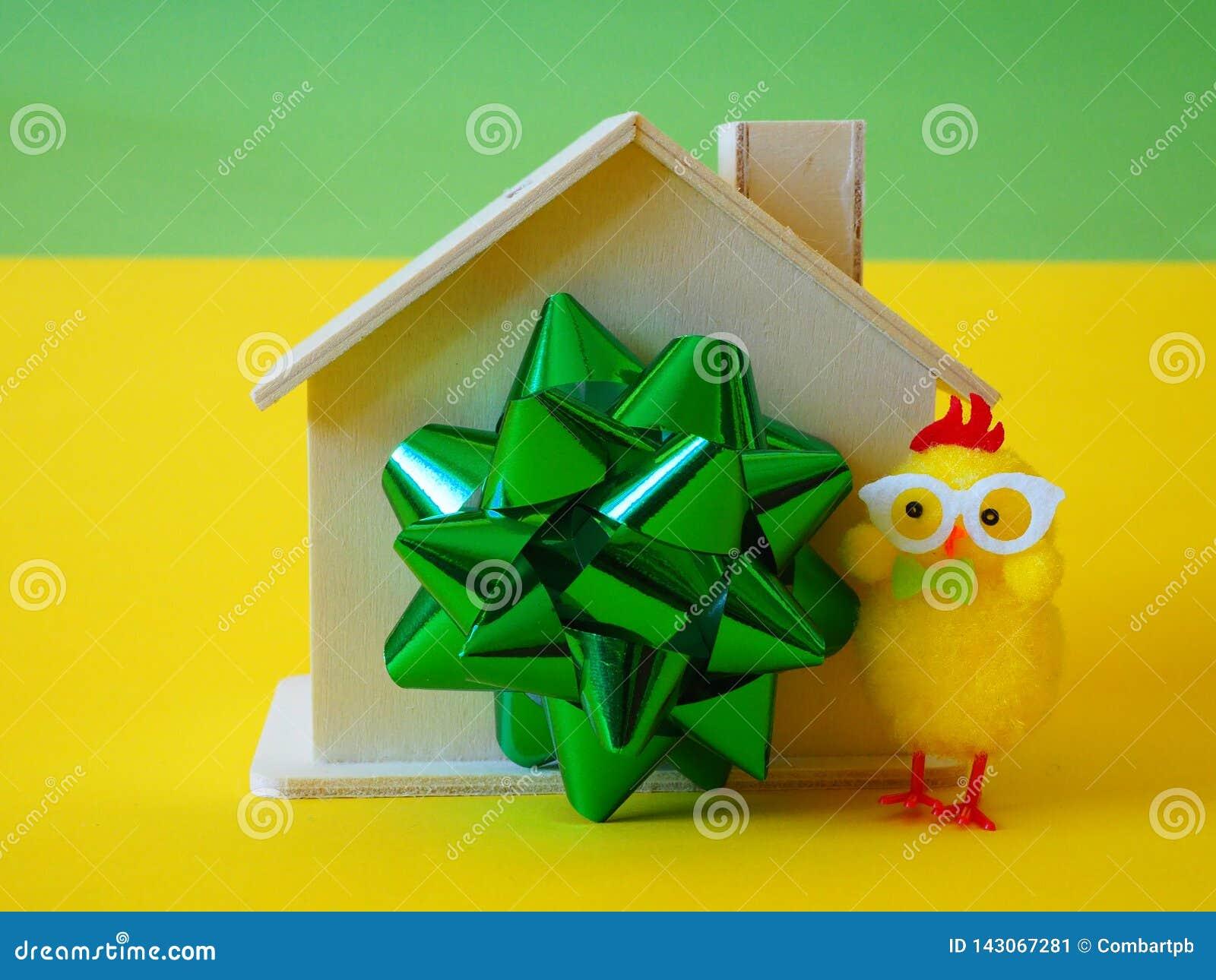 议院当礼物、丝带和鸡玩具