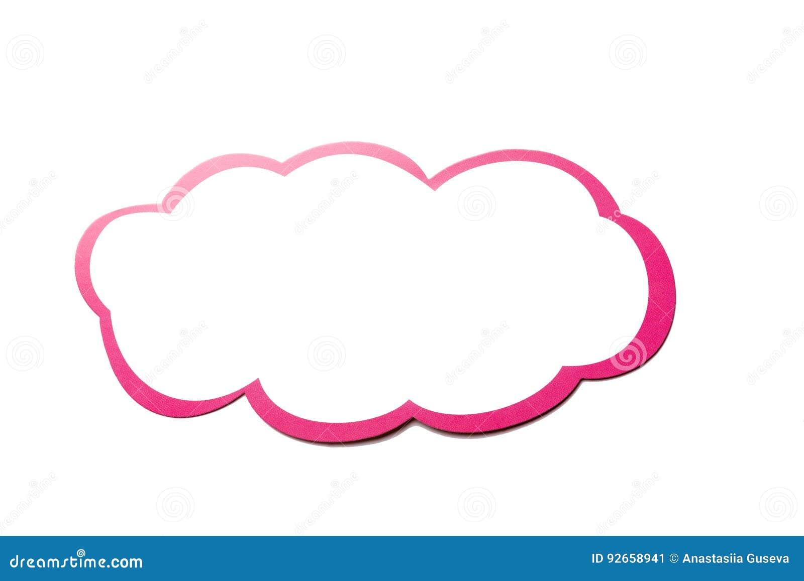 讲话泡影作为与在白色背景隔绝的桃红色边界的一朵云彩 复制空间