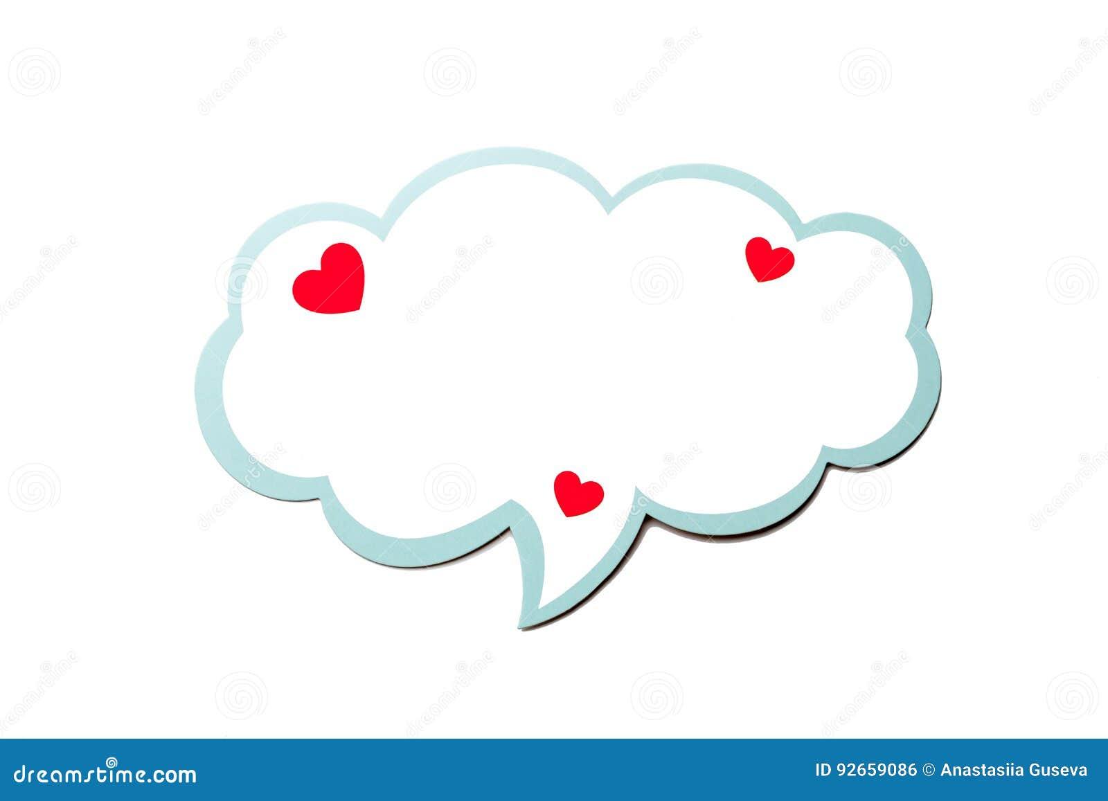 讲话泡影作为与在白色背景隔绝的蓝色边界的一朵云彩 复制空间