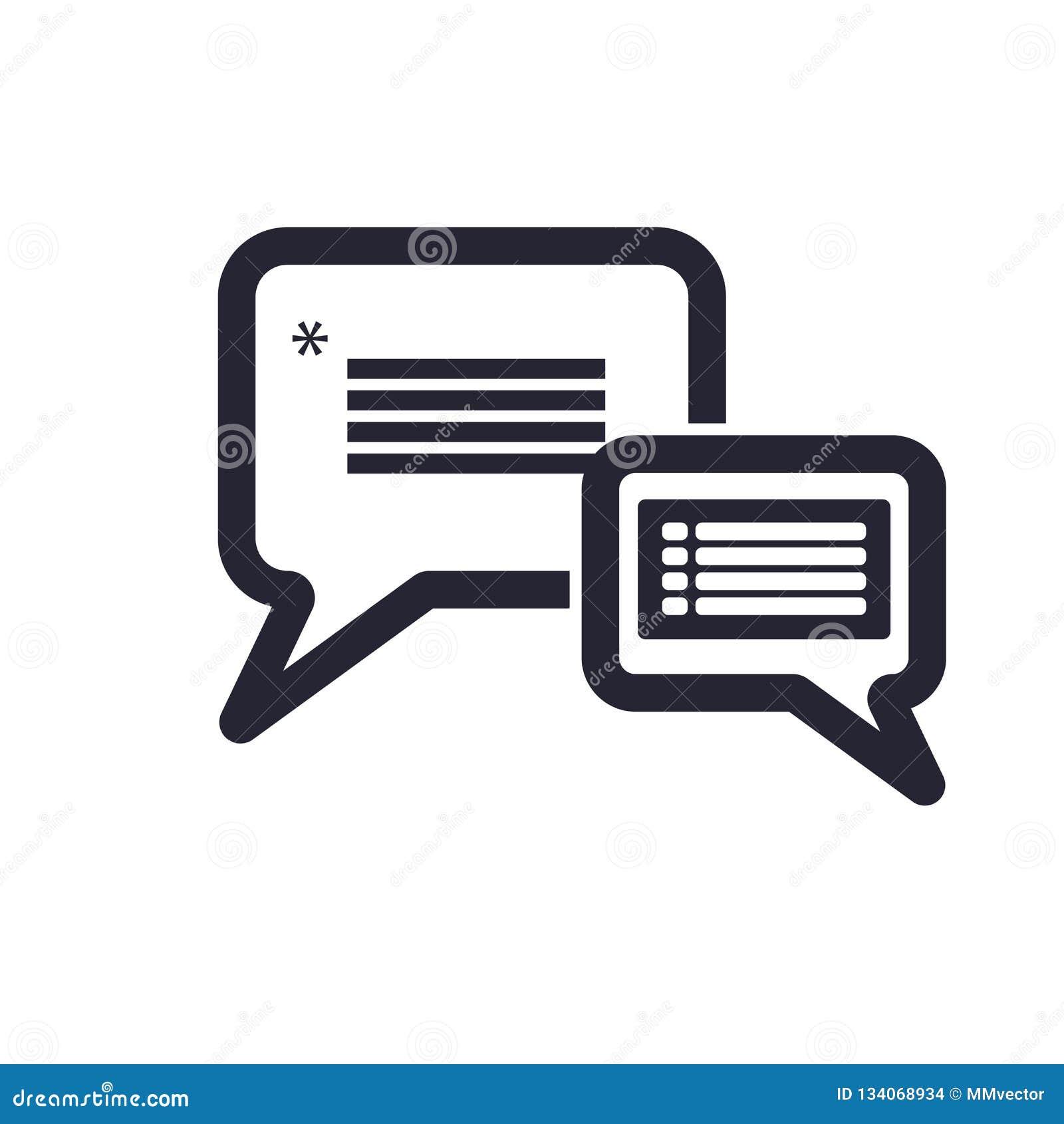 讲话泡影象在白色背景和标志隔绝的传染媒介标志,讲话泡影商标概念