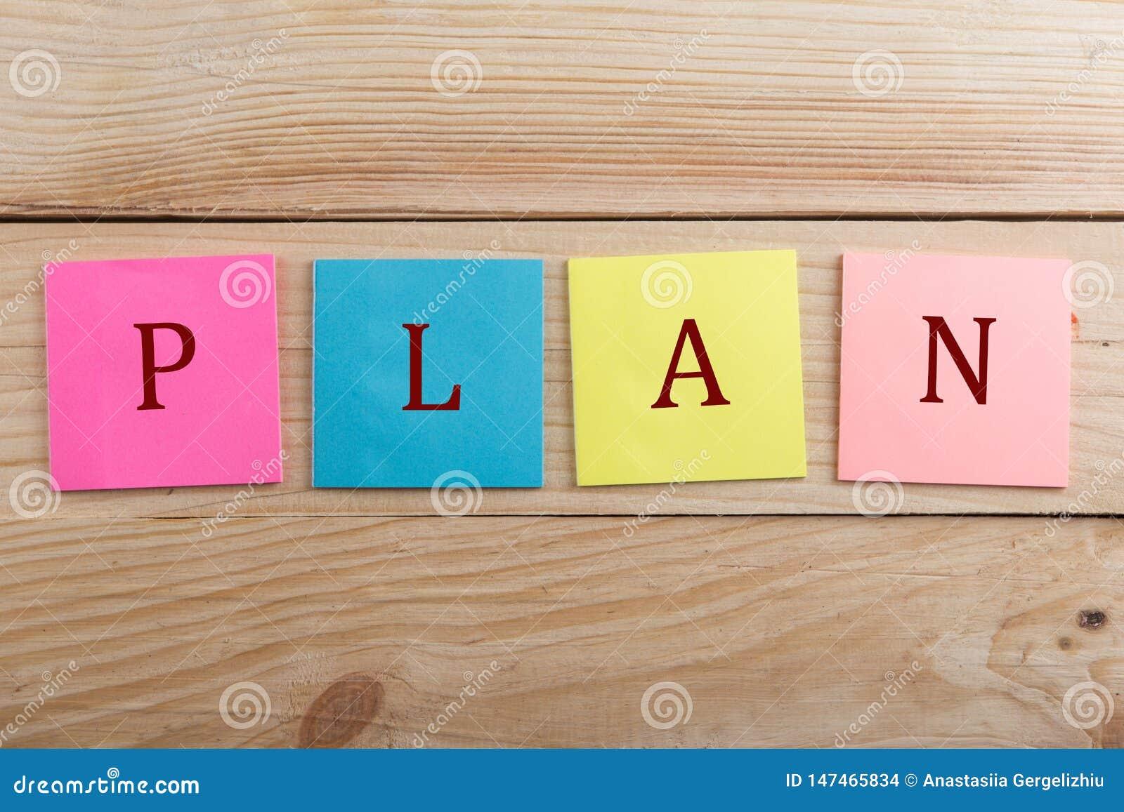 许多企业的概念-与文本计划的五颜六色的稠粘的笔记