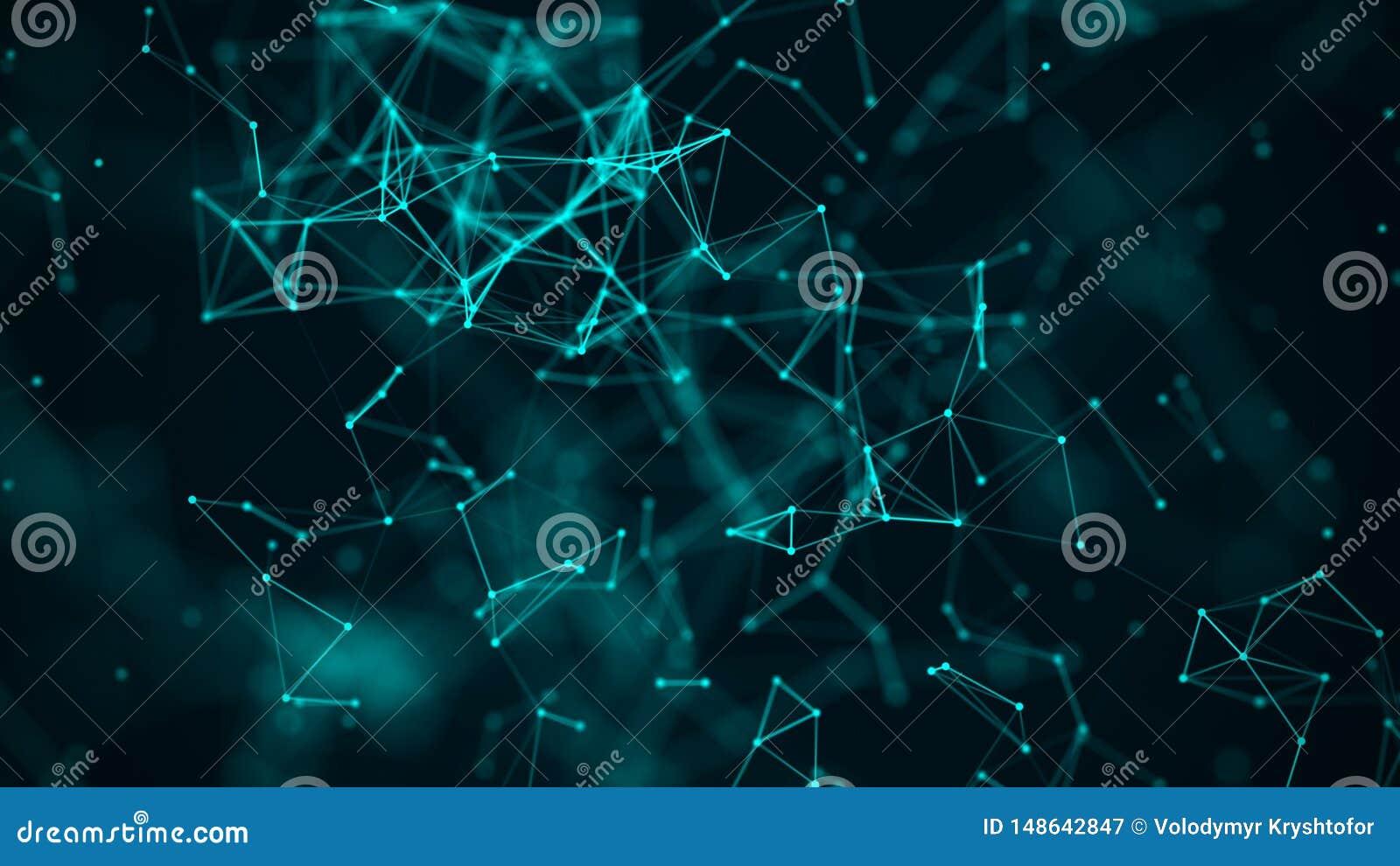 许多发光的线和小点的数字结节