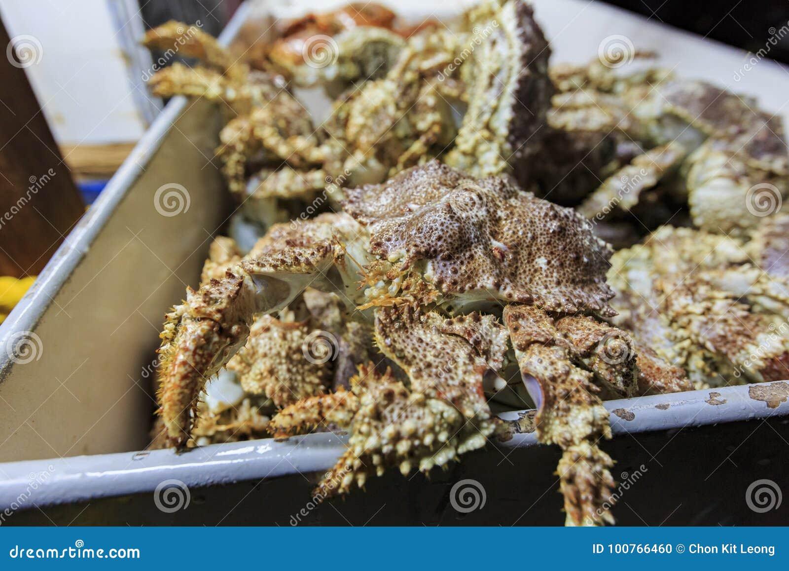 许多新鲜的螃蟹在新港海滨的鱼市上