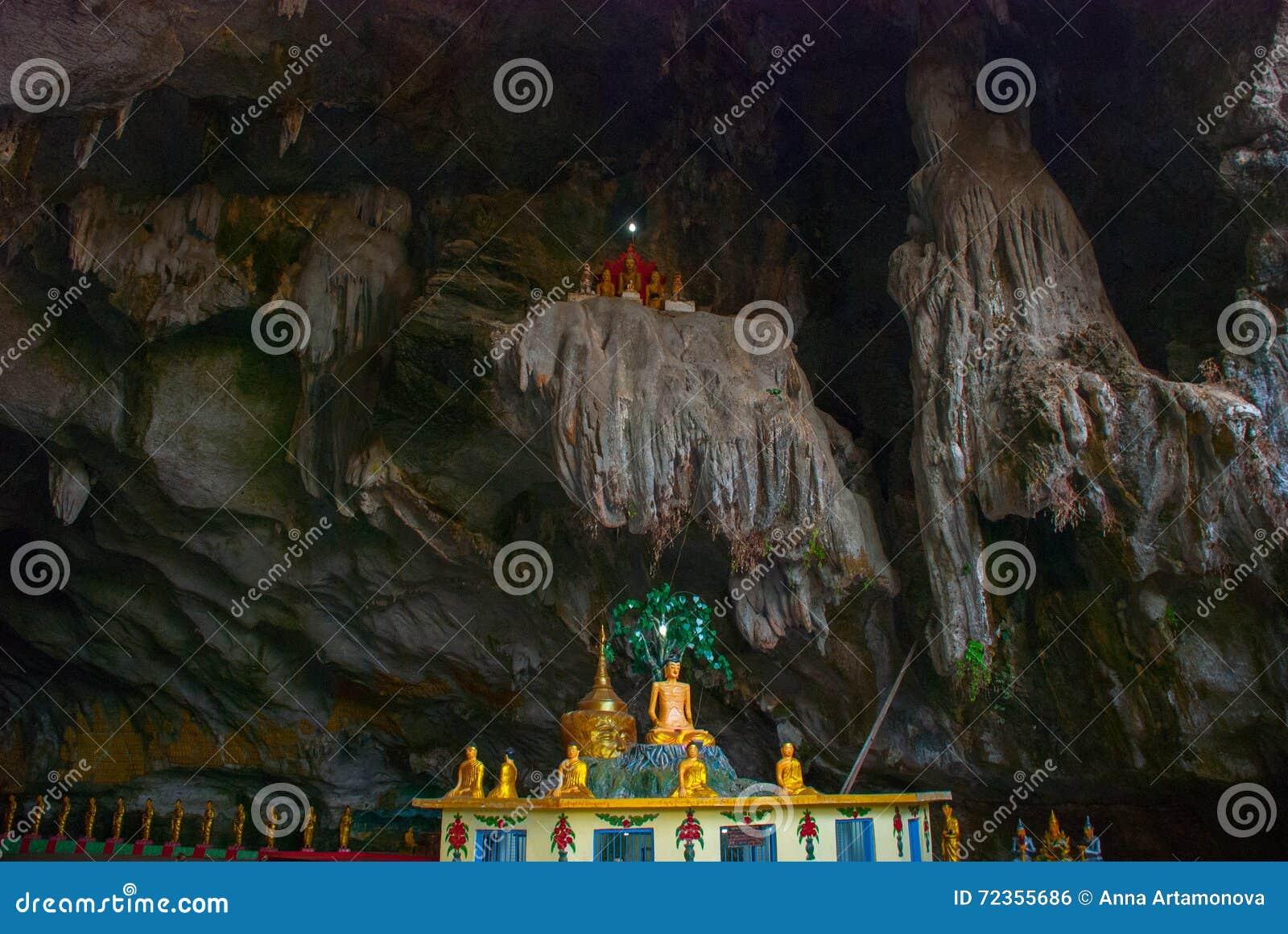 许多菩萨雕象坐,宗教雕刻 Hpa-An,缅甸 缅甸