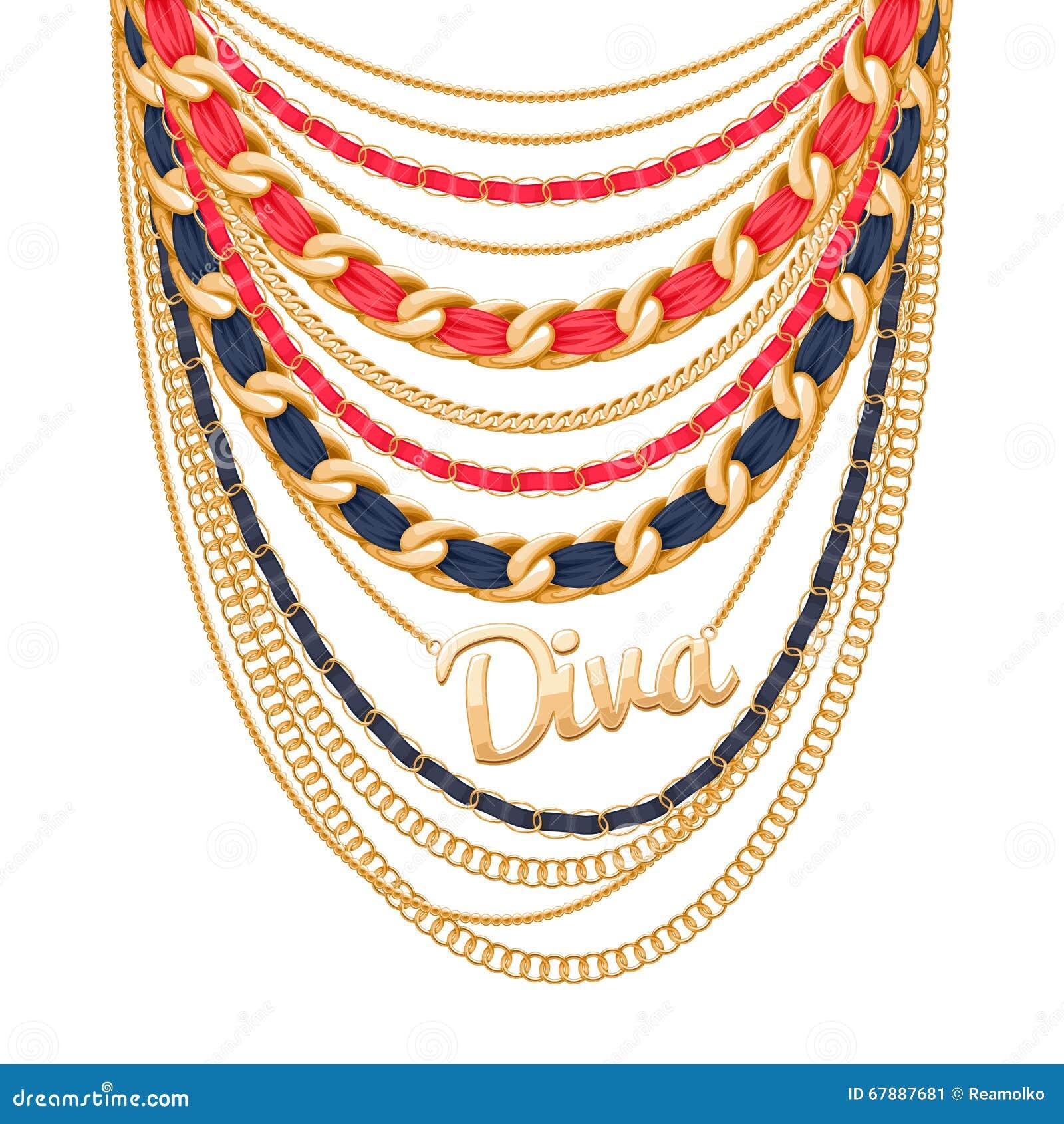 许多链子金黄金属项链