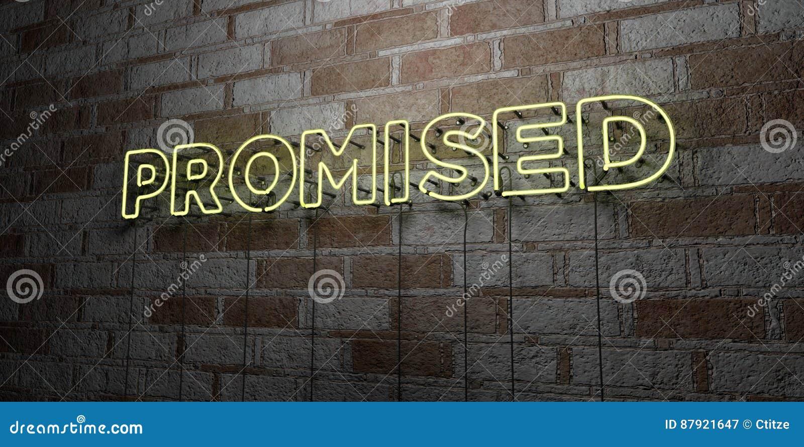 许诺-在石制品墙壁上的发光的霓虹灯广告- 3D回报了皇族自由储蓄例证