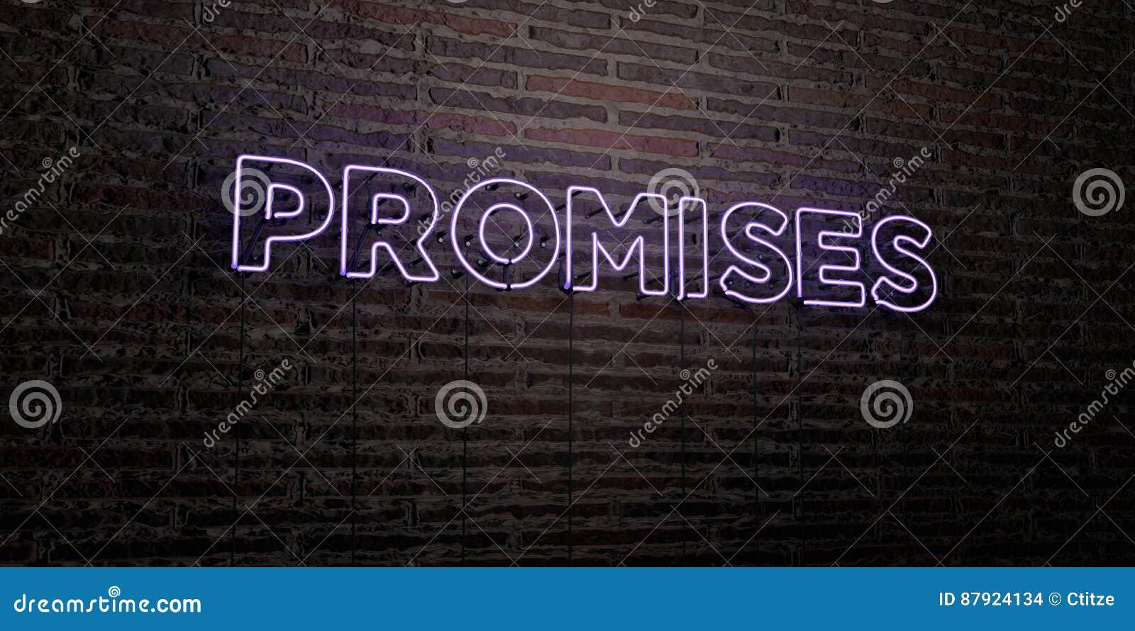 许诺-在砖墙背景的现实霓虹灯广告- 3D被回报的皇族自由储蓄图象