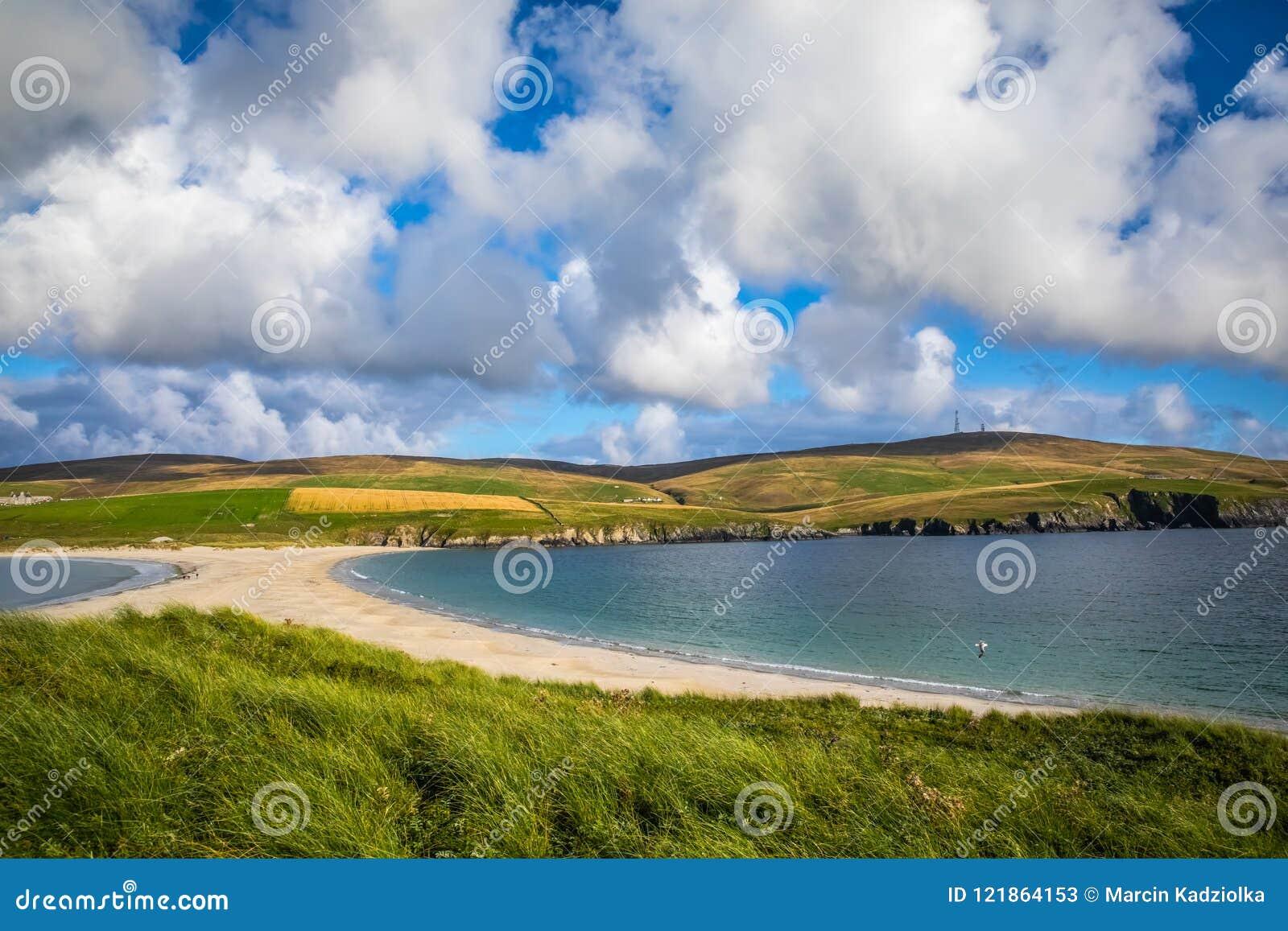 设得兰群岛- tombolo -圣Ninian海滩