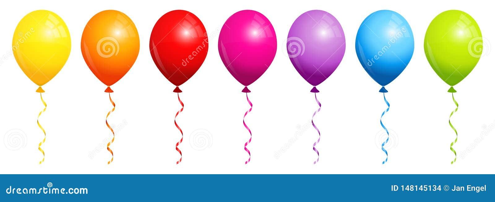 设置七个彩虹气球
