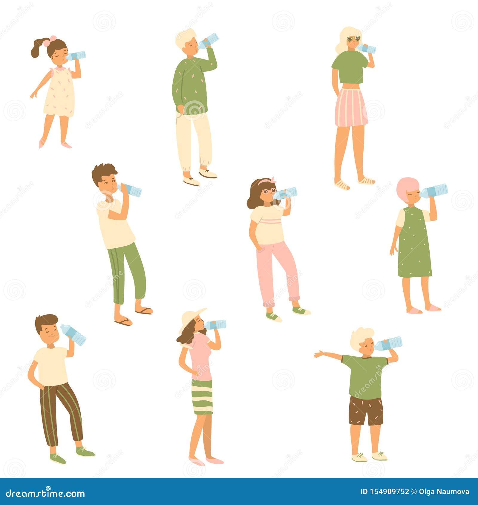 设置不同的字符孩子,妇女,喝从瓶的水的人