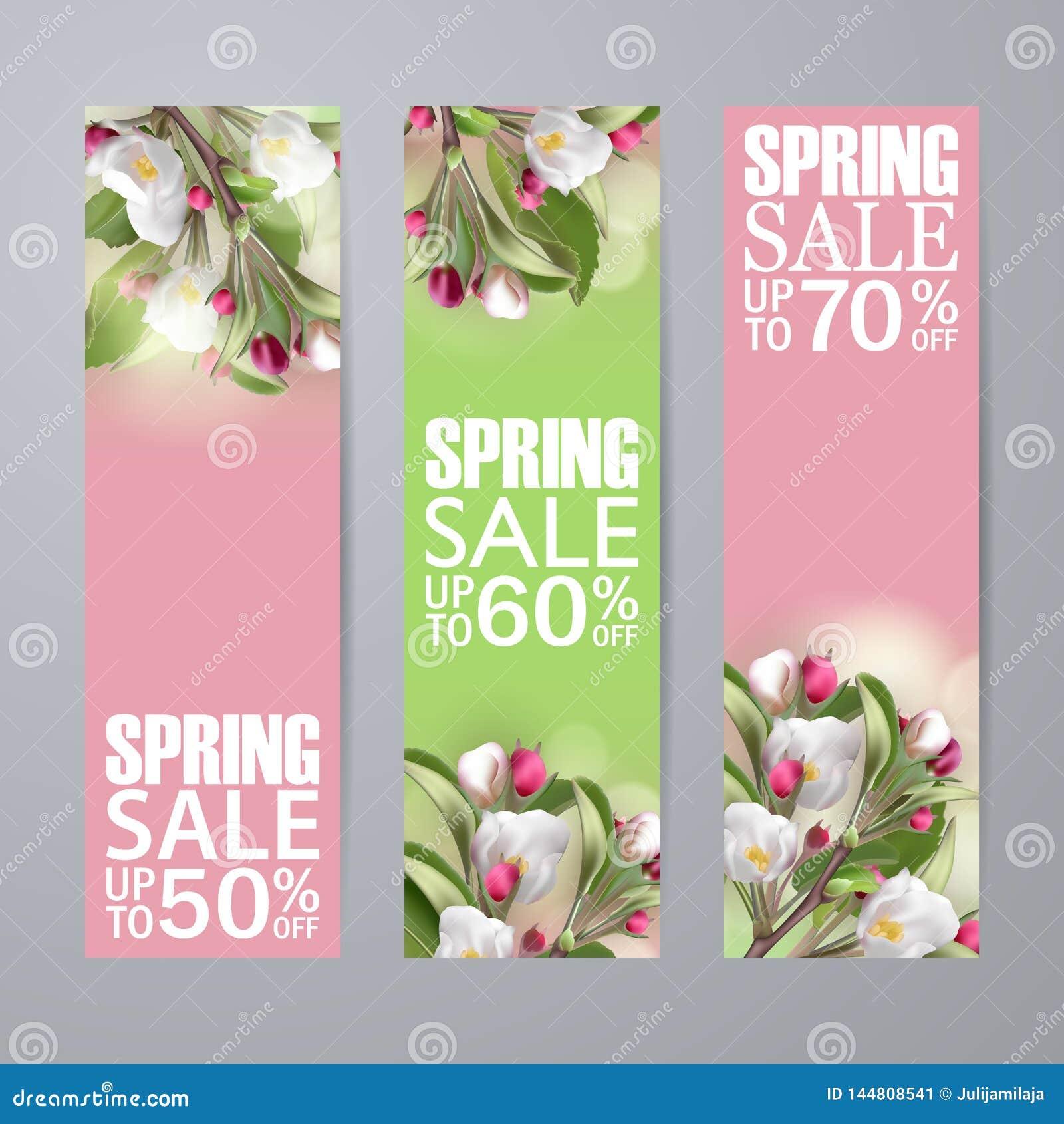 设置与佐仓的传染媒介春天销售垂直的横幅