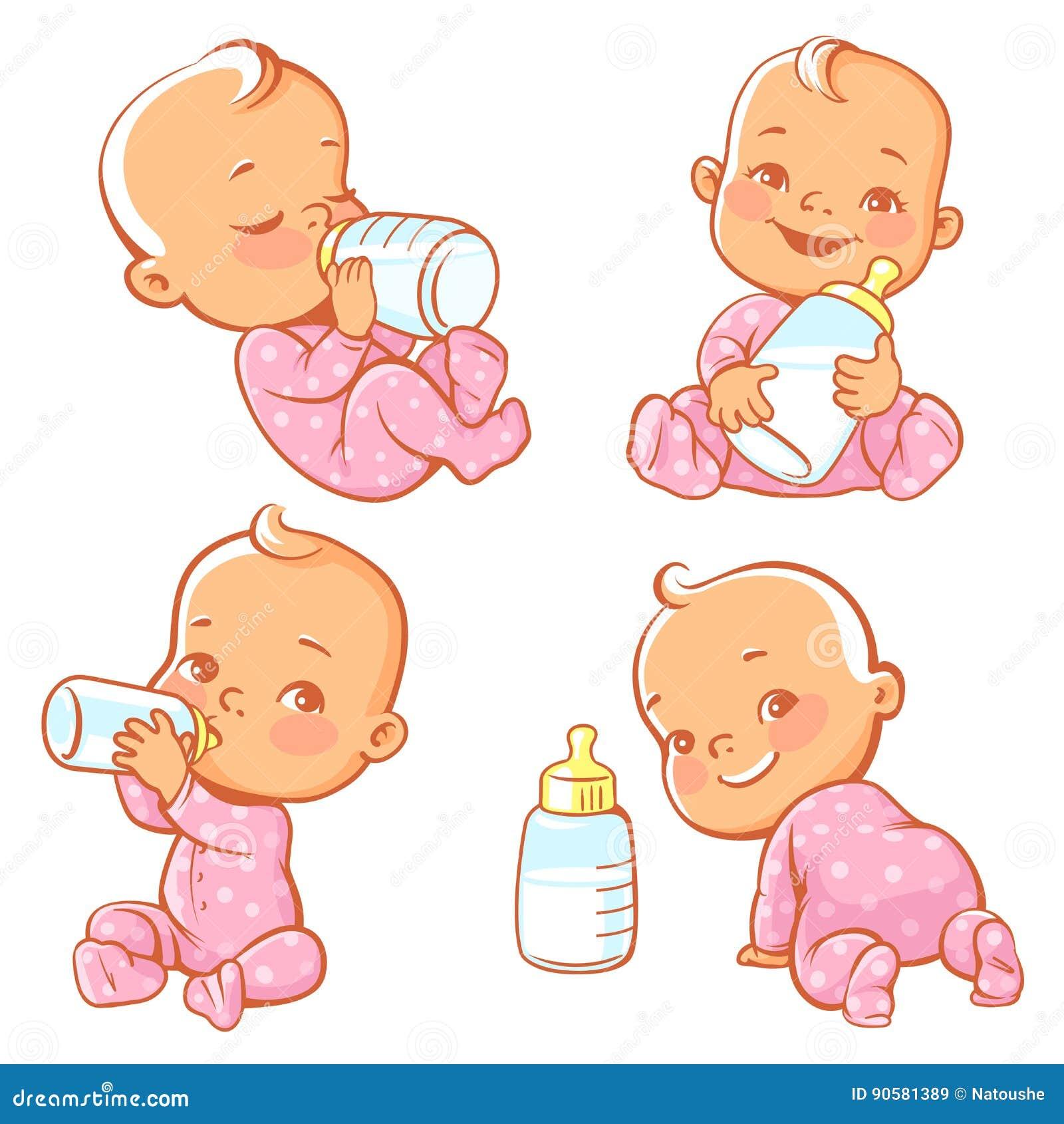 设置与有瓶的逗人喜爱的矮小的婴孩牛奶