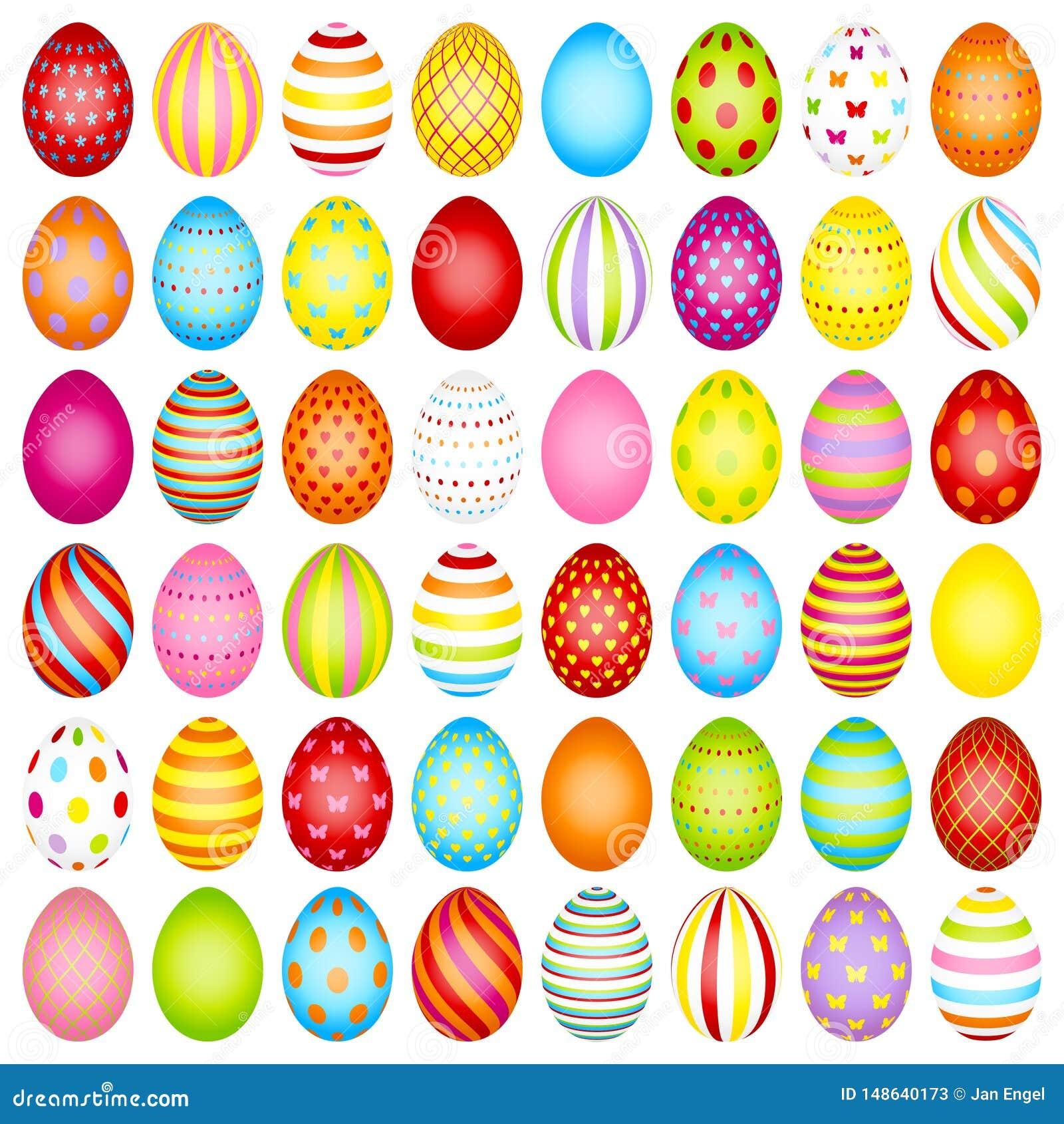 设置与样式的亭亭玉立的复活节彩蛋颜色