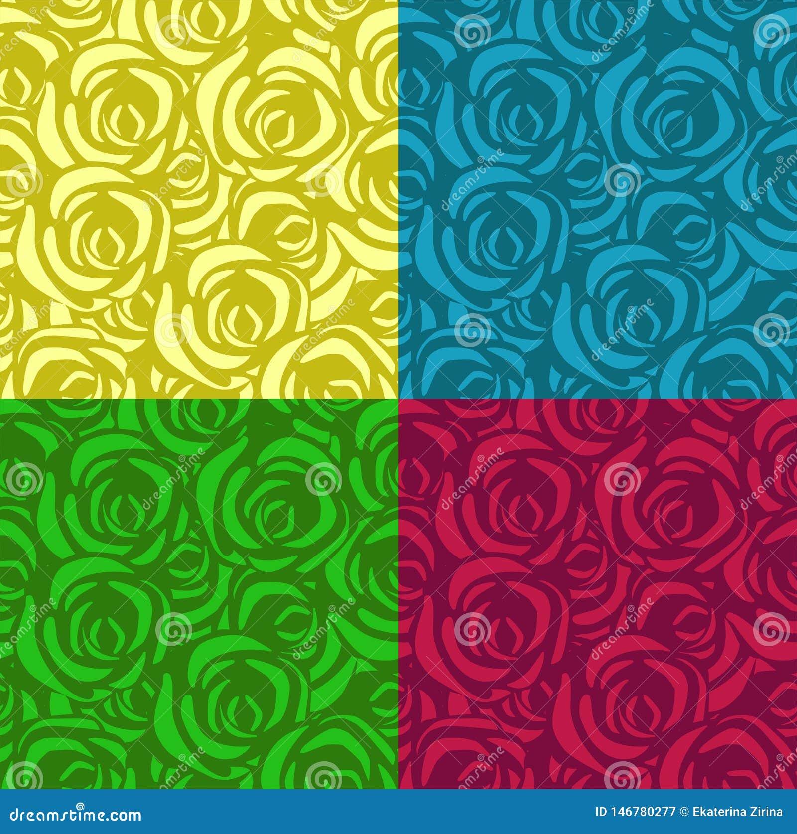 设置与玫瑰的无缝的样式在不同颜色 可适用为纺织品,包装纸和其他 ??