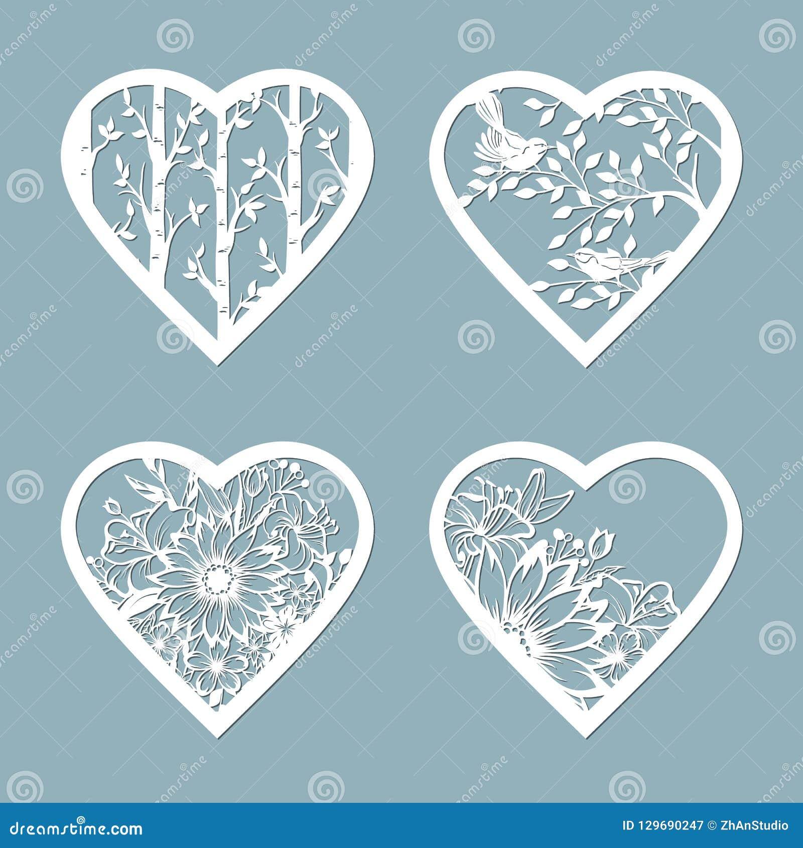 设置与花的钢板蜡纸心脏 室内设计、邀请等等的模板 图象适用于激光切口,绘图员切口