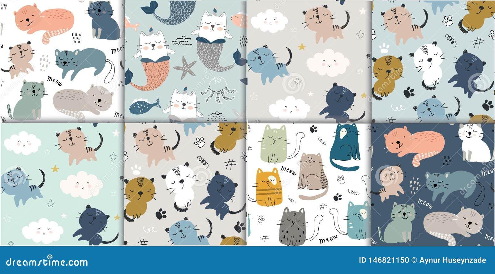 设置与逗人喜爱的猫的无缝的样式 纺织品的,织品幼稚传染媒介例证