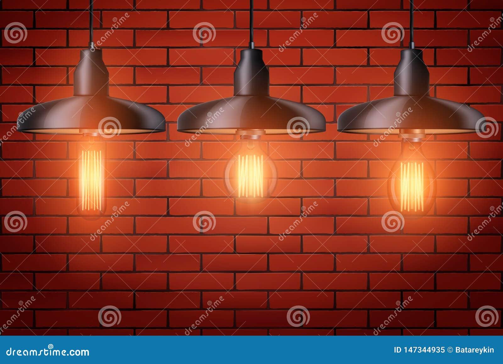 设置与金属树荫的爱迪生电灯泡