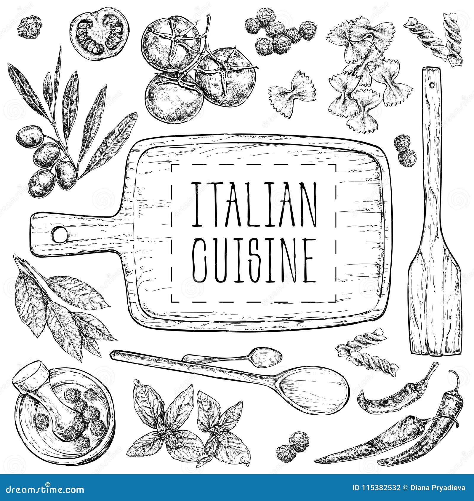 设置与食物的手拉的例证 carpaccio烹调非常好的食物意大利生活方式豪华 为菜单,卡片,博克,横幅完善 在vintag的传染媒介例证