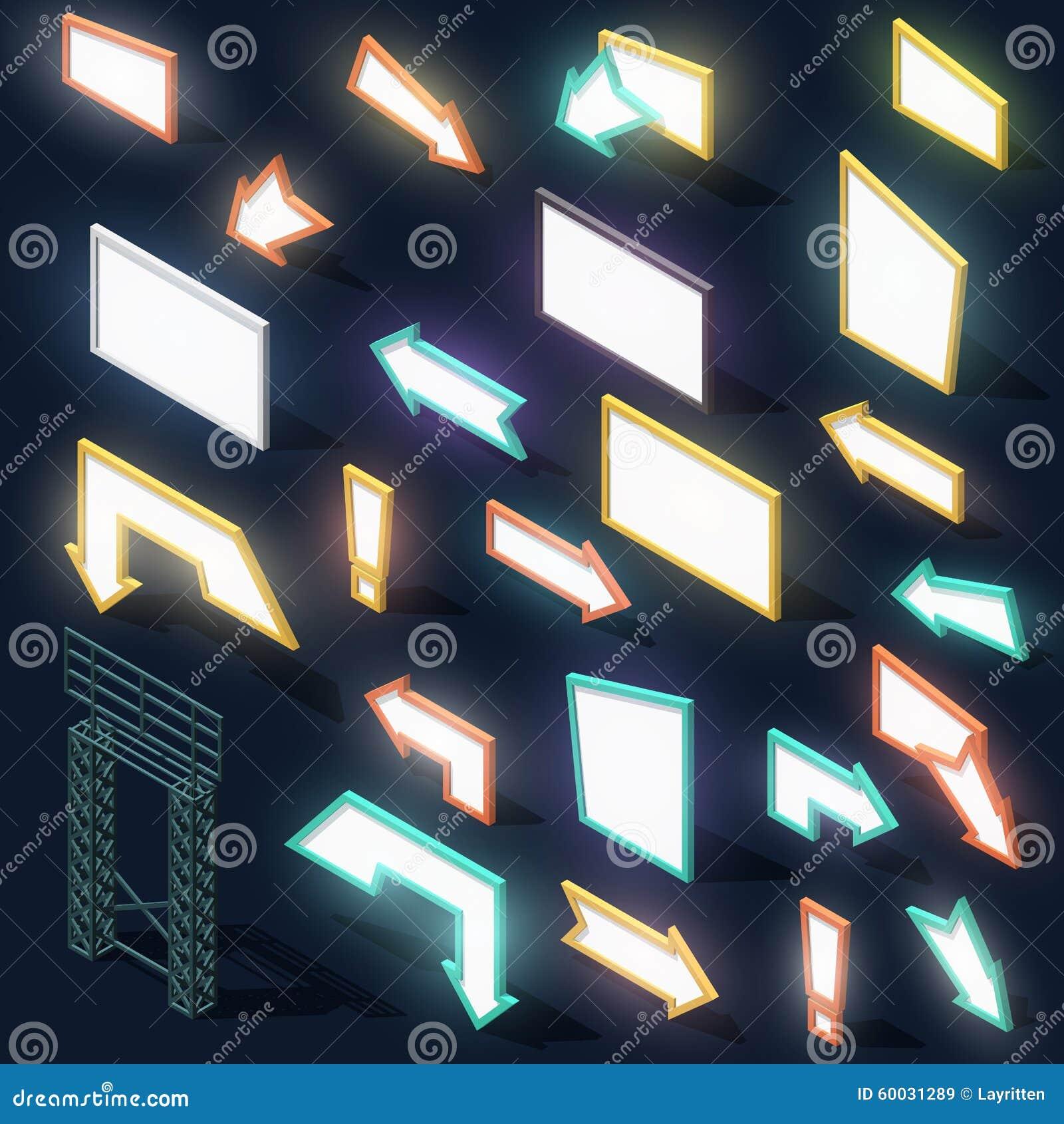 设置与阴影的23个箭头标志夜光广告牌等量