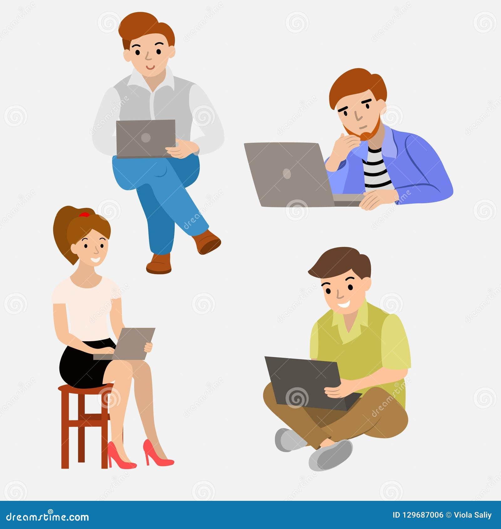设置人在膝上型计算机后是不同滑稽的