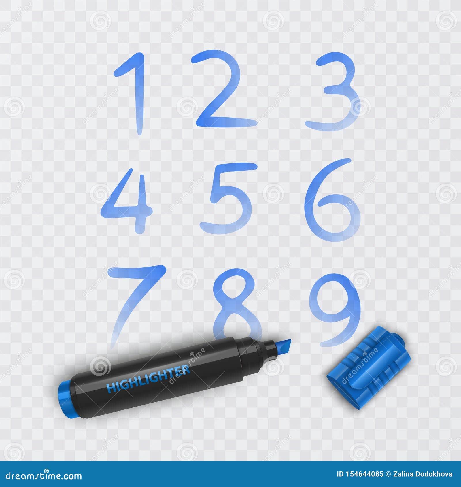 设置从零到九,数字的十个数字得出与蓝色标志,传染媒介例证