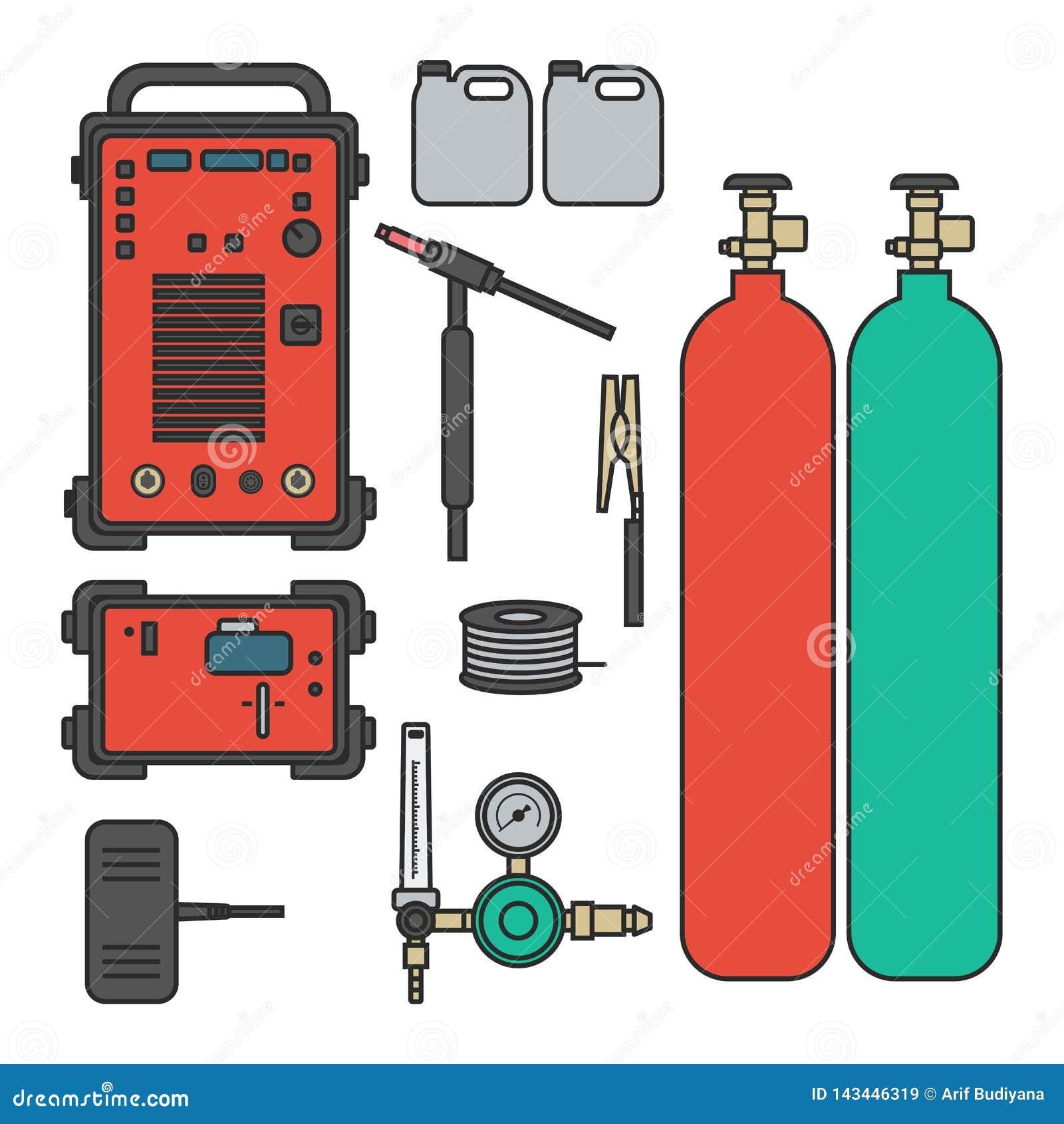 设置传染媒介例证气焊有管理者坦克火炬的氩机器