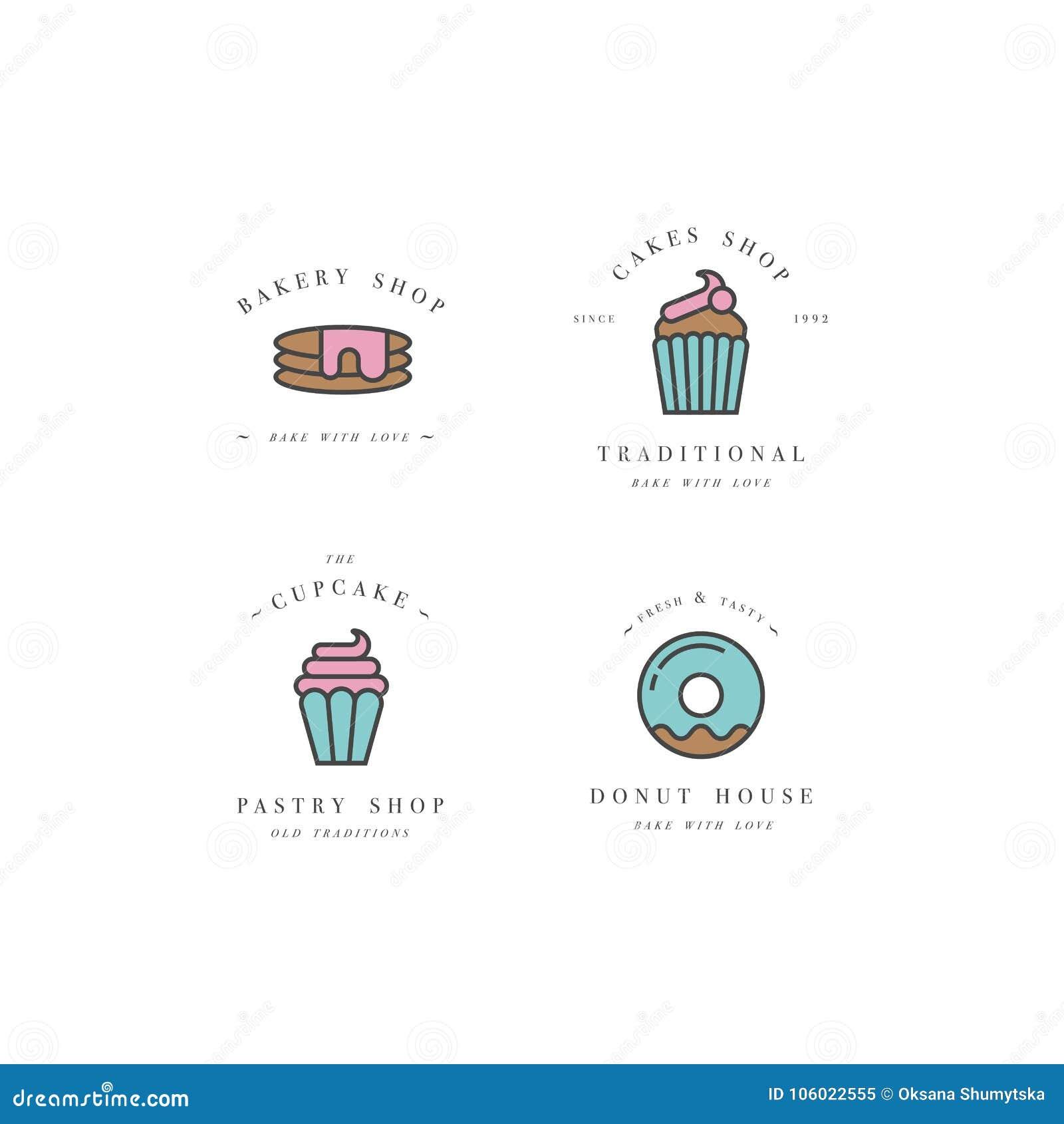 设置传染媒介设计模板和象征-杯形蛋糕,多福饼并且烘烤面包店商店的象 界面甜点