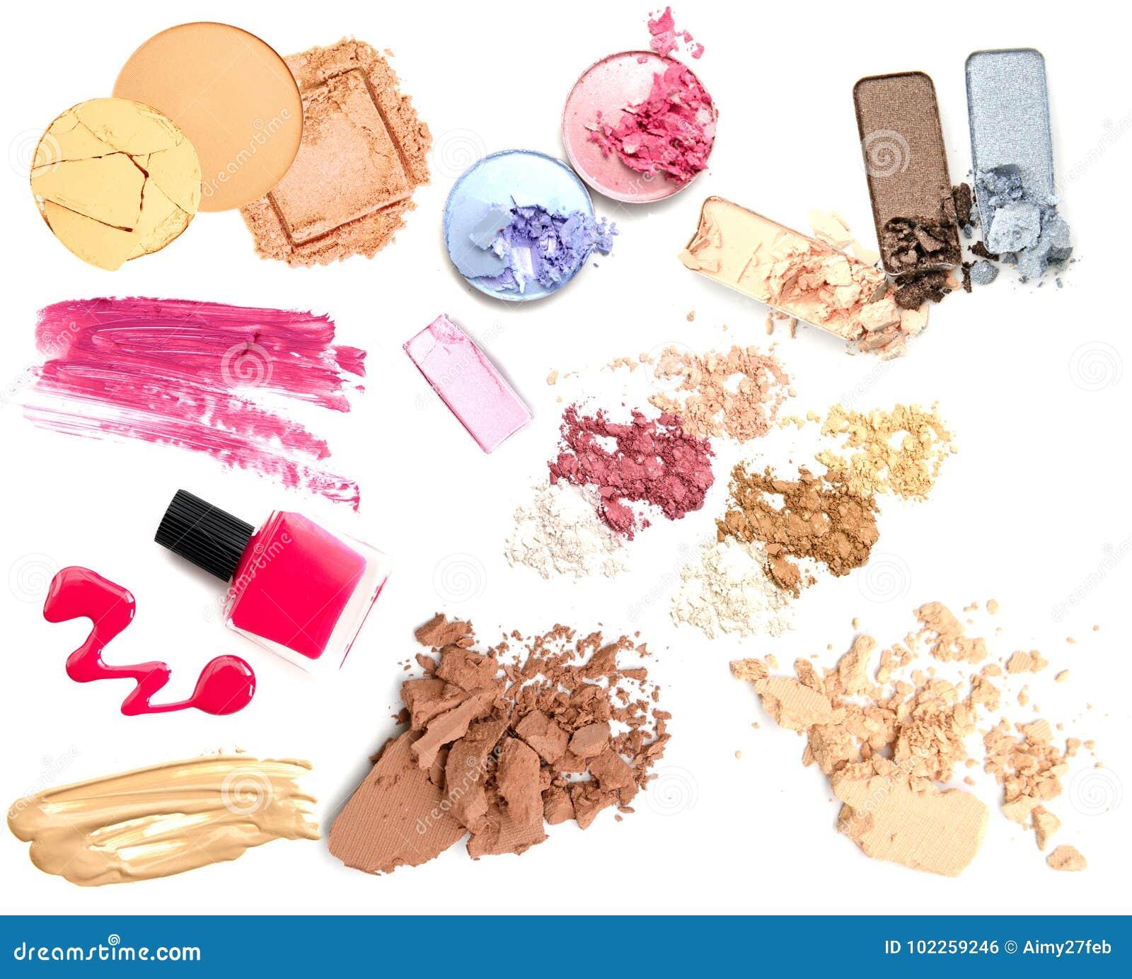 设置化妆产品孤立 组成产品
