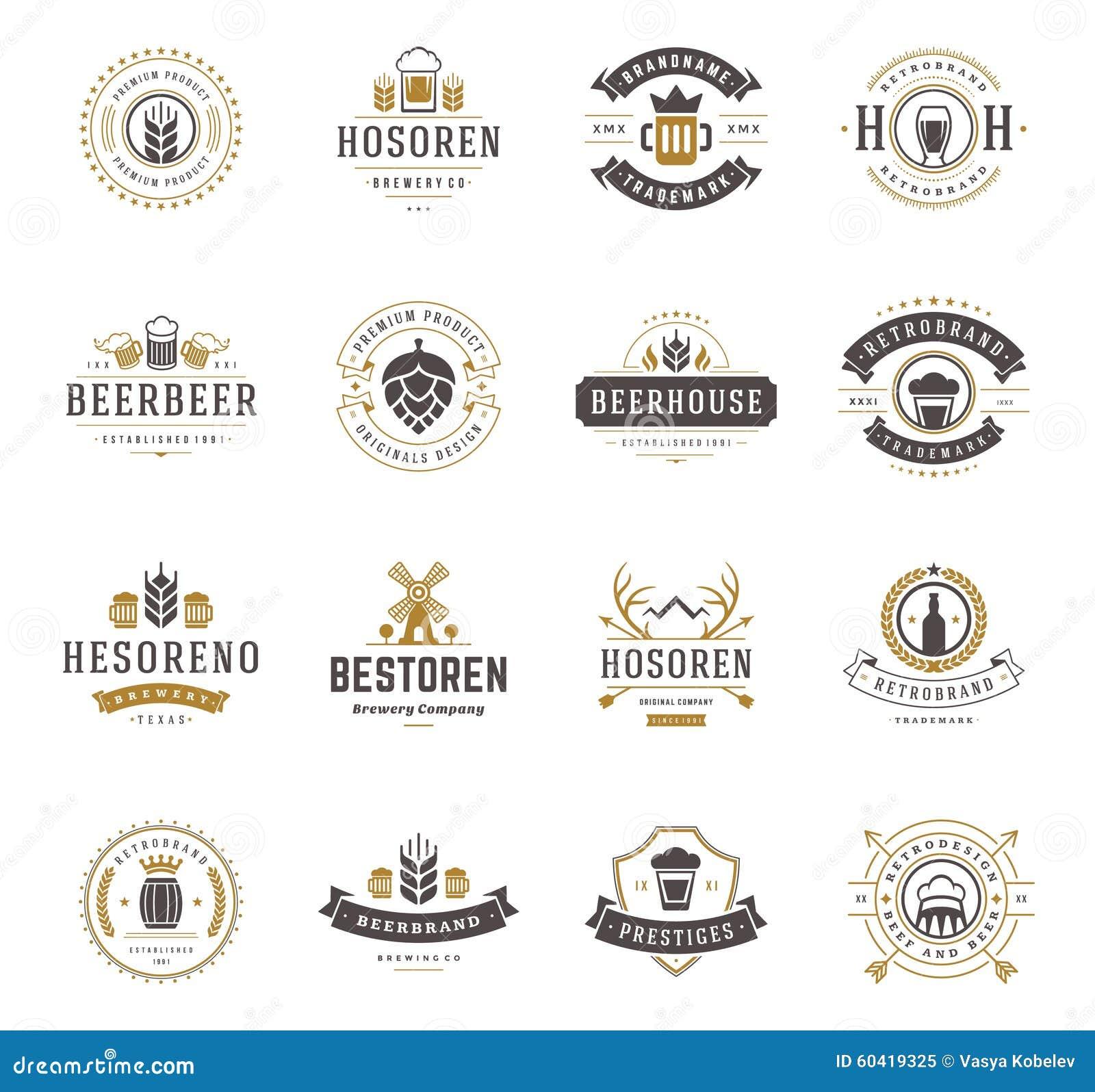设置啤酒商标,徽章并且标记葡萄酒样式