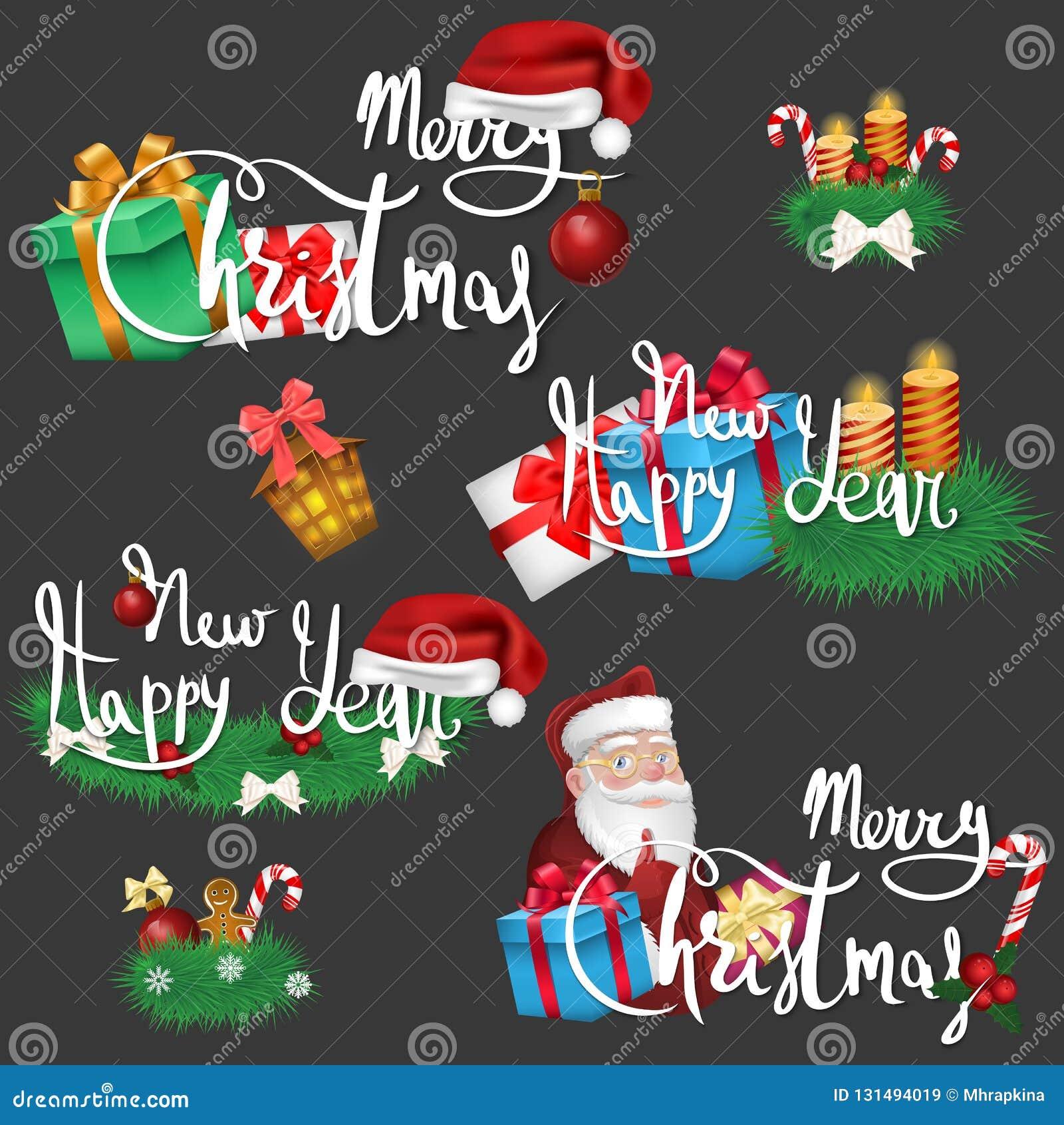 设置圣诞节和新年象和愿望