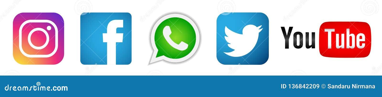 设置在白色背景的普遍的社会媒介商标象Instagram Facebook Twitter Youtube WhatsApp元素传染媒介