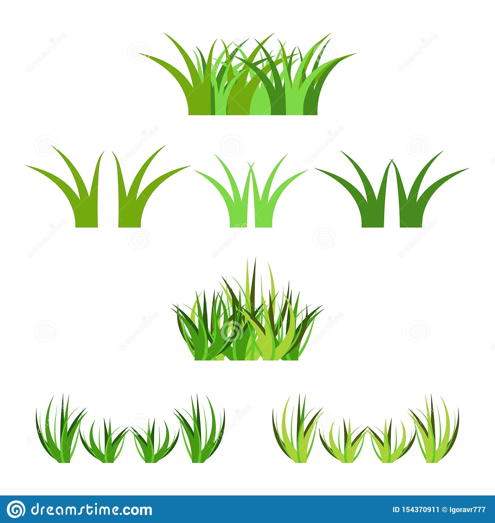 设置在白色隔绝的传染媒介绿草horisontal束 动画片支柱装饰