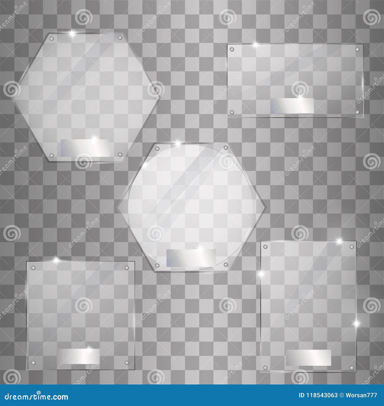 设置在透明背景的传染媒介玻璃板现代横幅