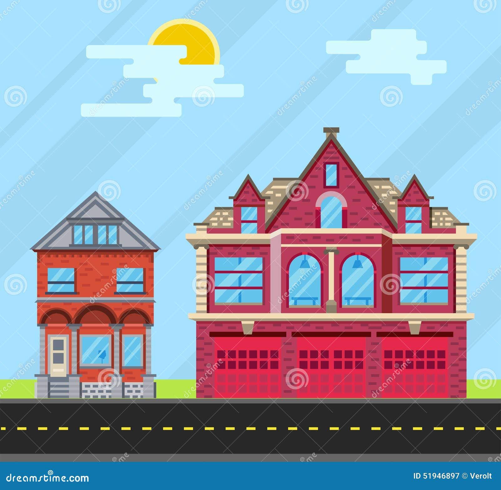和�9�e����il�`f��,_设置大厦房子,老房子和消防局 传染媒介平的il